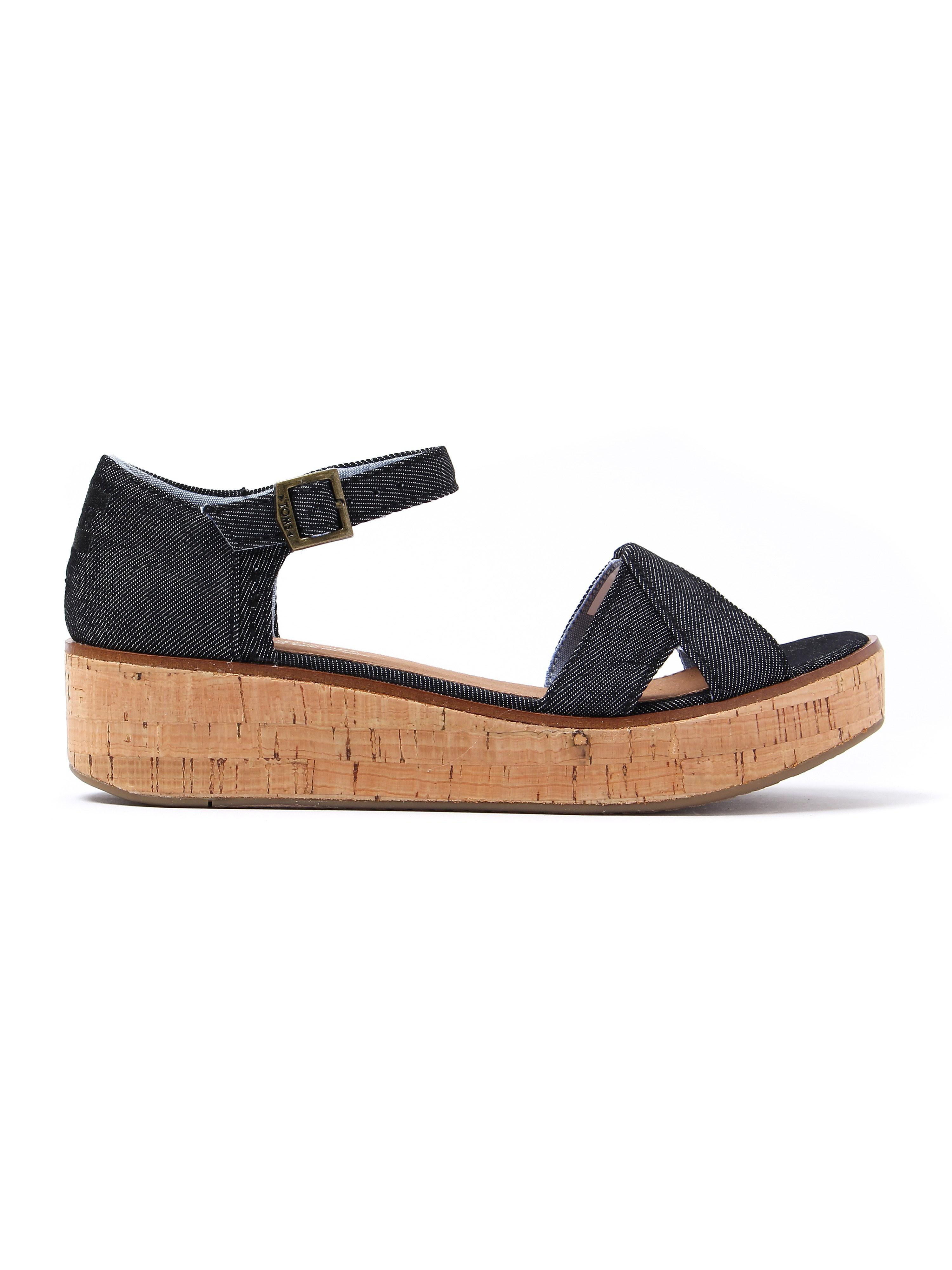 Toms Women's Harper Wedge Sandals - Black Denim