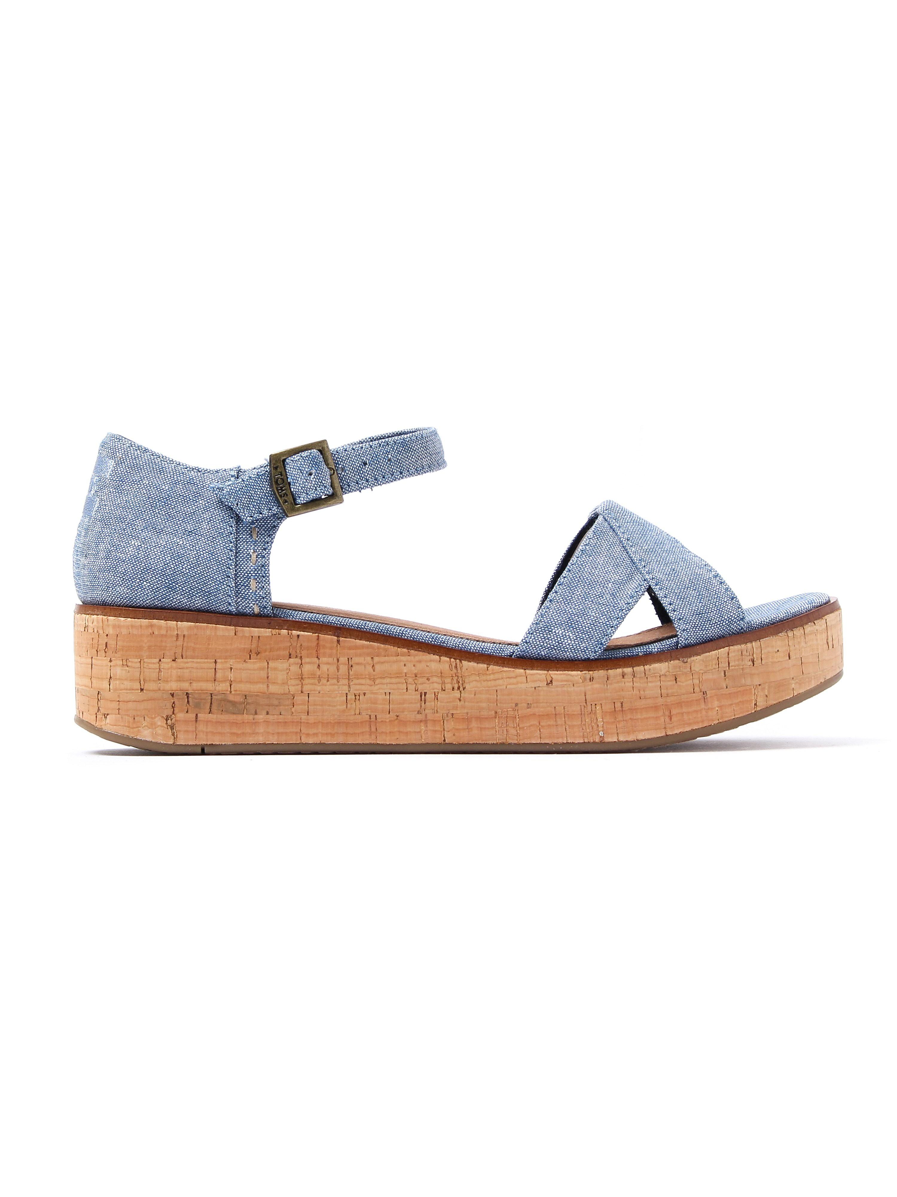 Toms Women's Harper Wedge Sandals - Blue Chambray