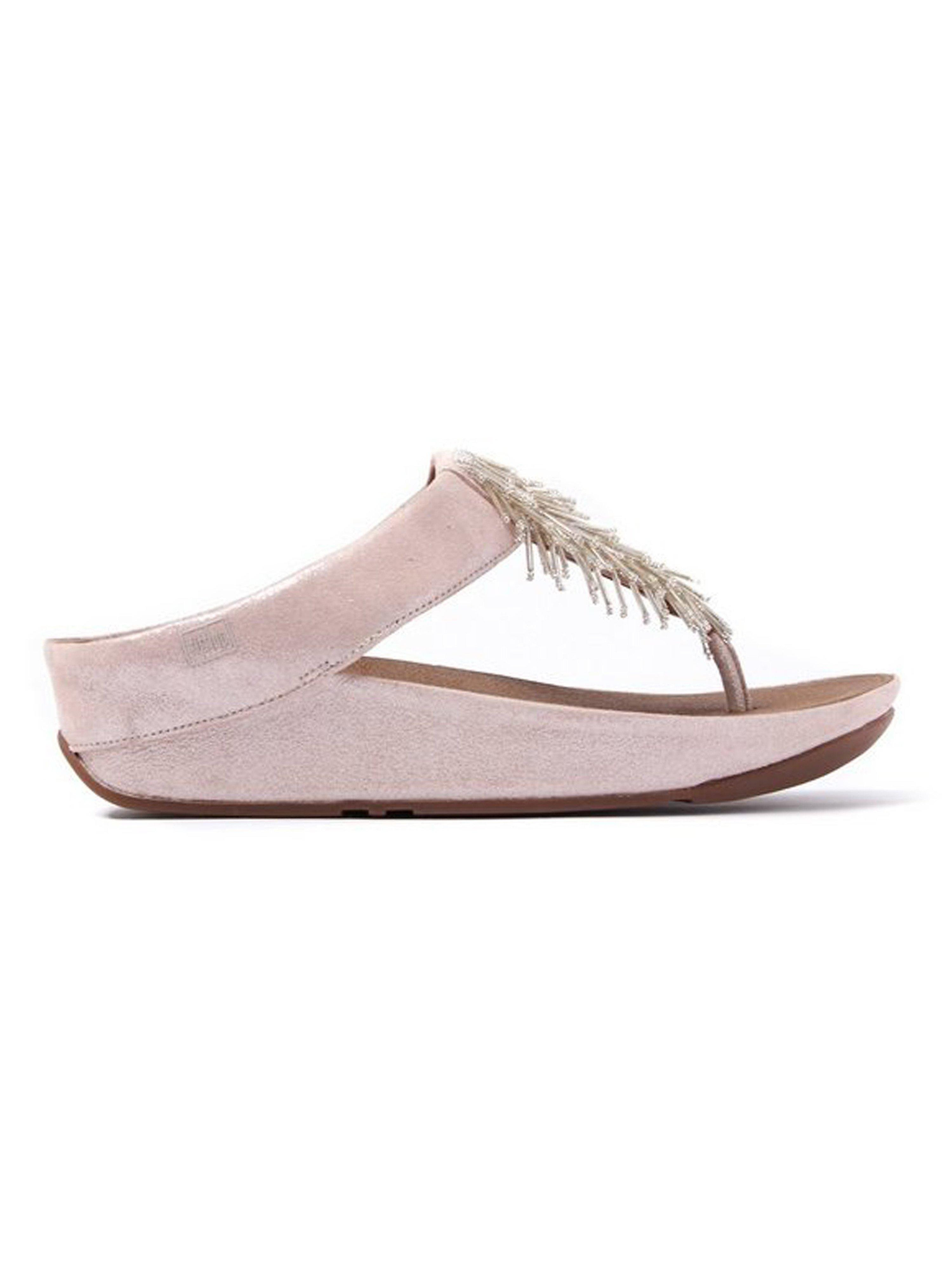FitFlop Women's Cha Cha Leather Beaded Toe-Post Sandals - Silver