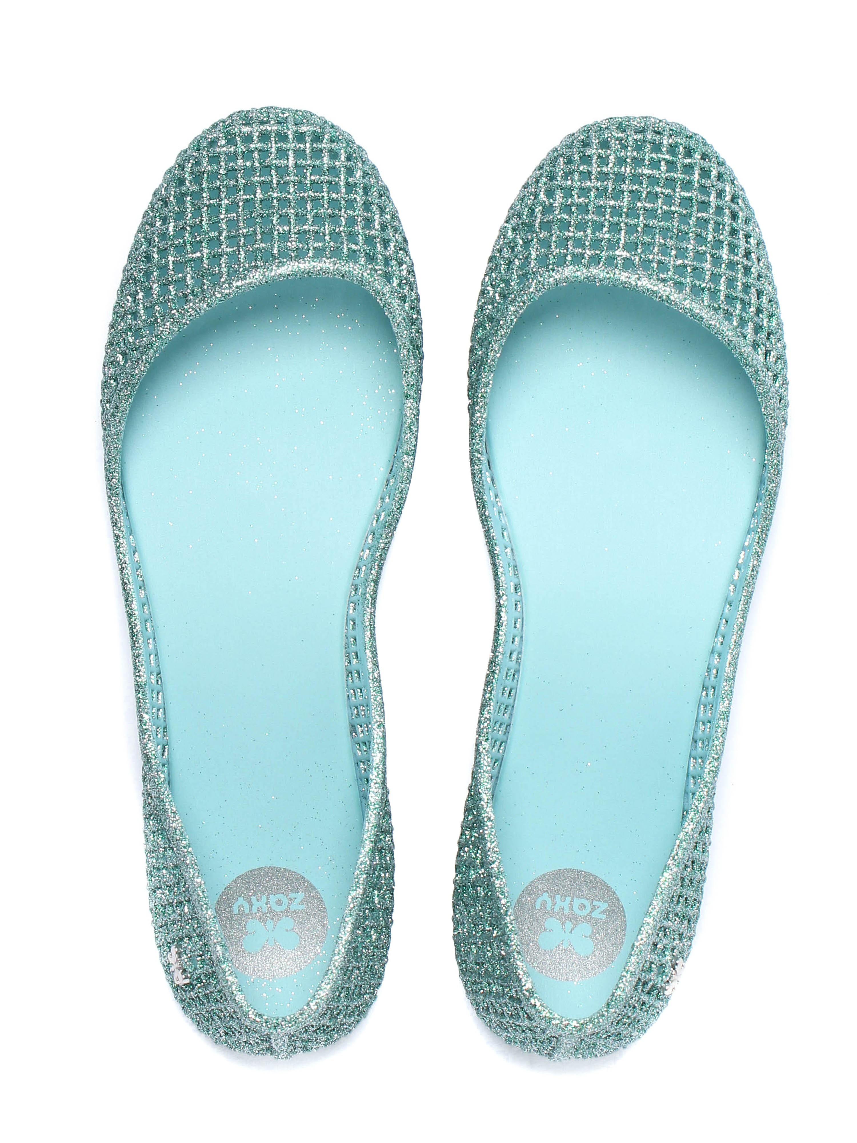Zaxy Women's Amora Glitter Ballerina Pumps - Mint