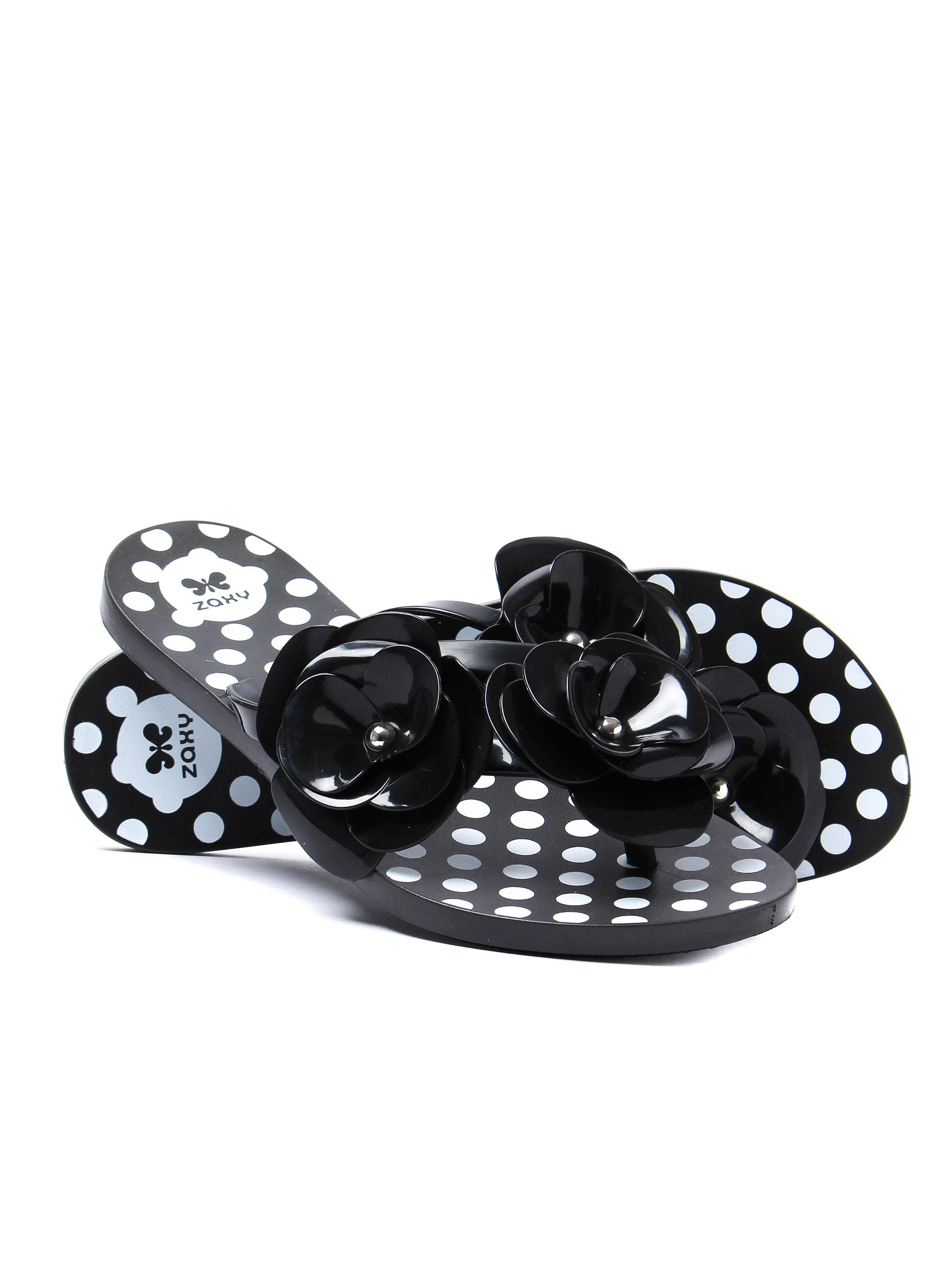 Zaxy Women's Fresh Bloom Flip Flops - Black