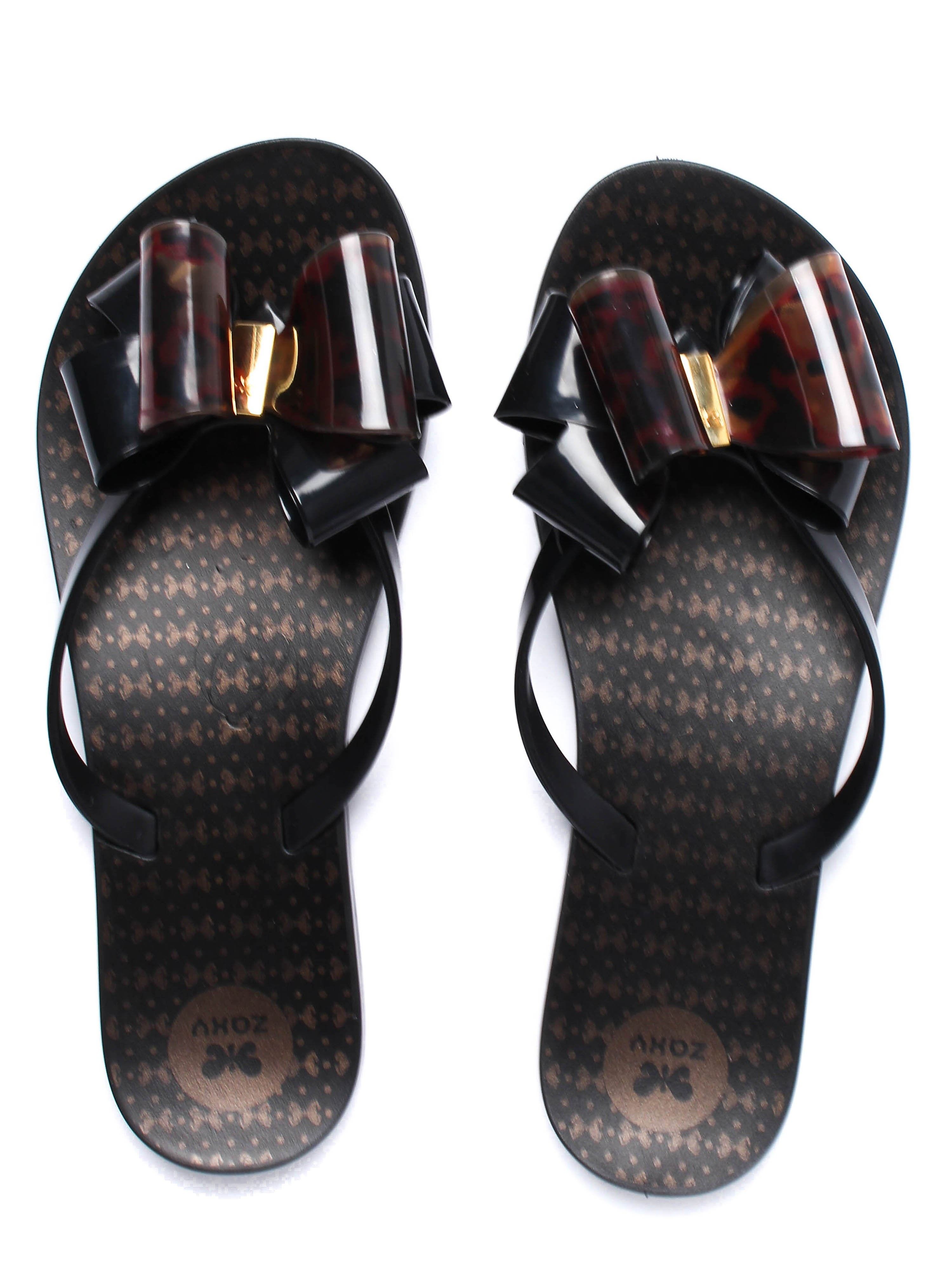 Zaxy Women's Link Twin Bow Flip Flops - Black/Tortoiseshell