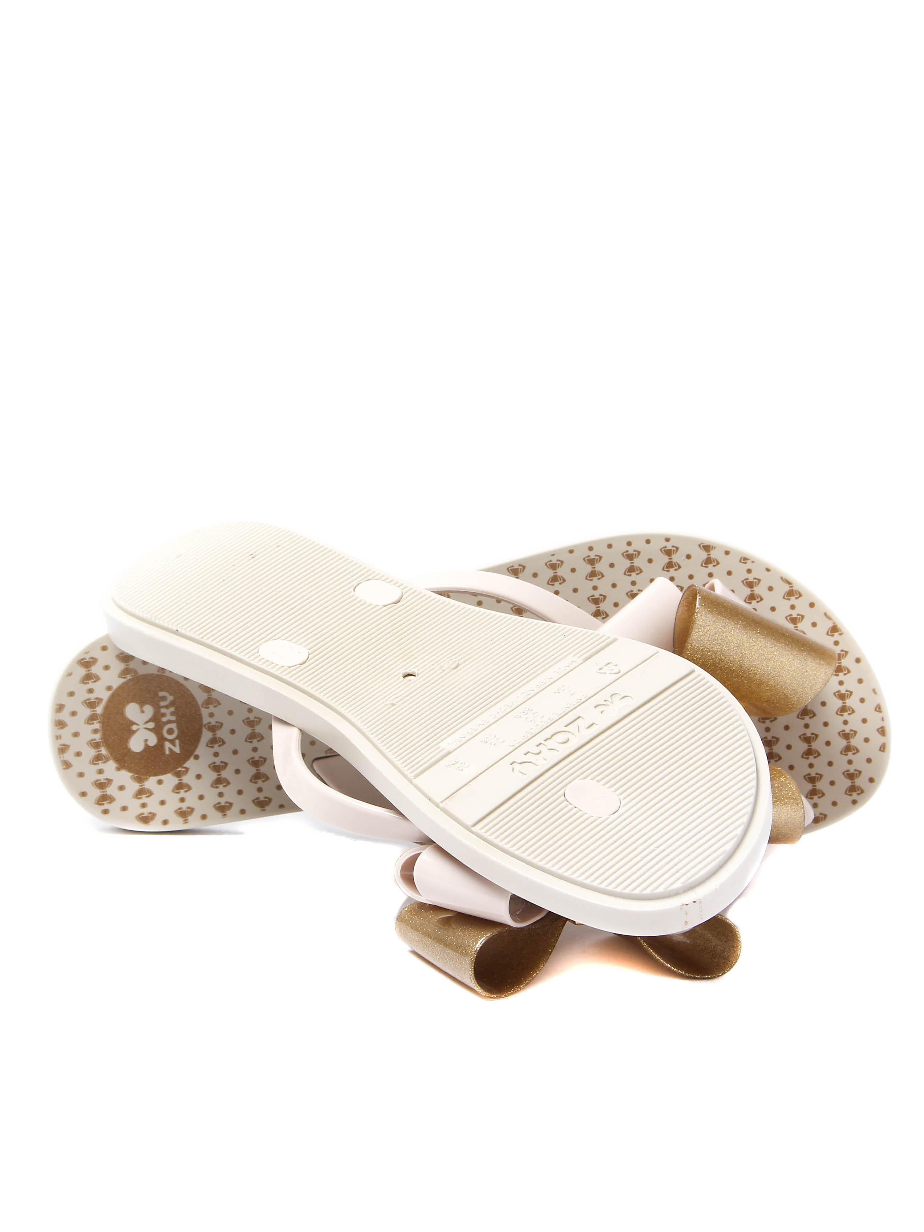 Zaxy Women's Link Twin Bow Flip Flops - White/Gold