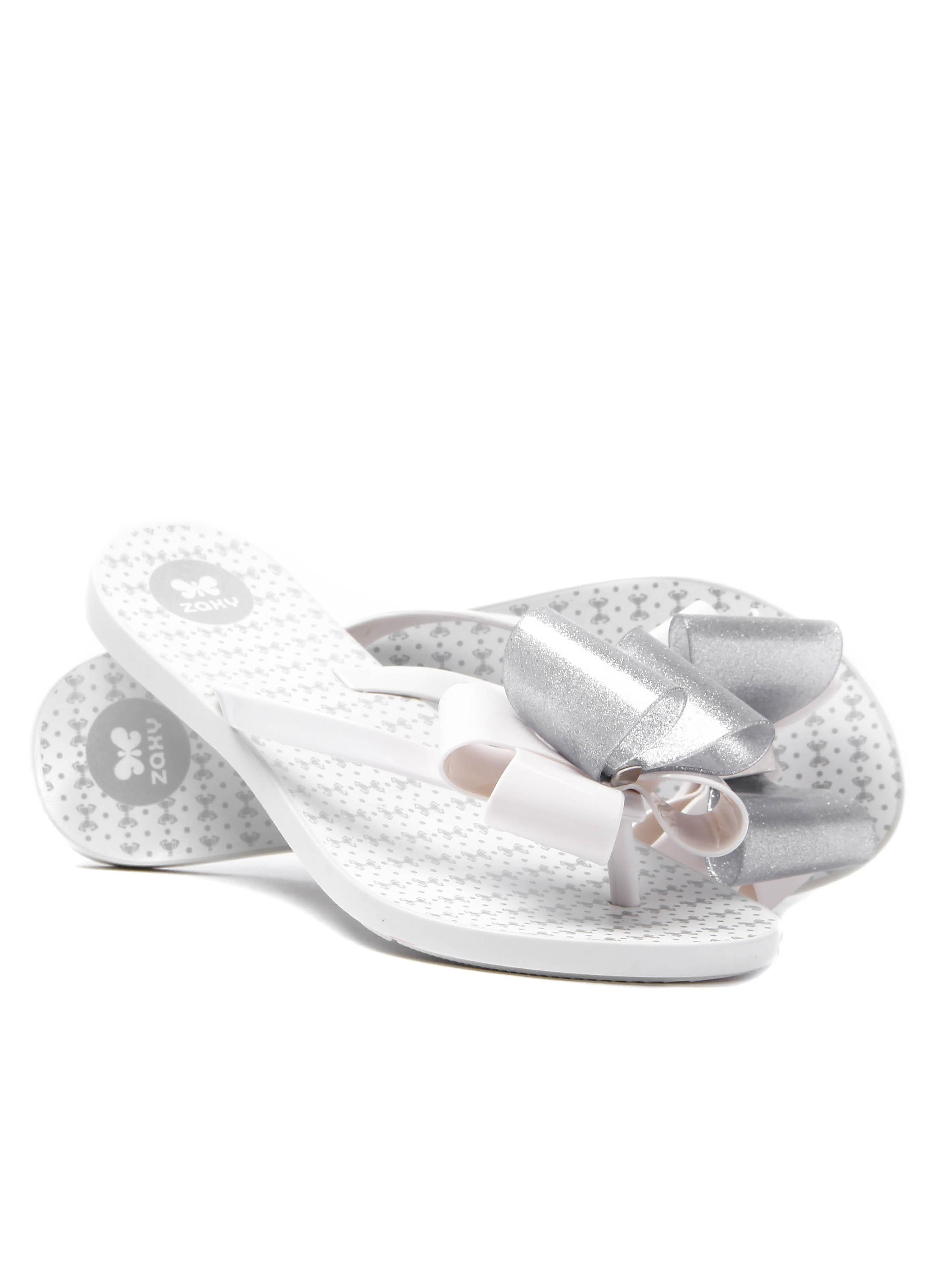 Zaxy Women's Link Twin Bow Flip Flop - White/Silver