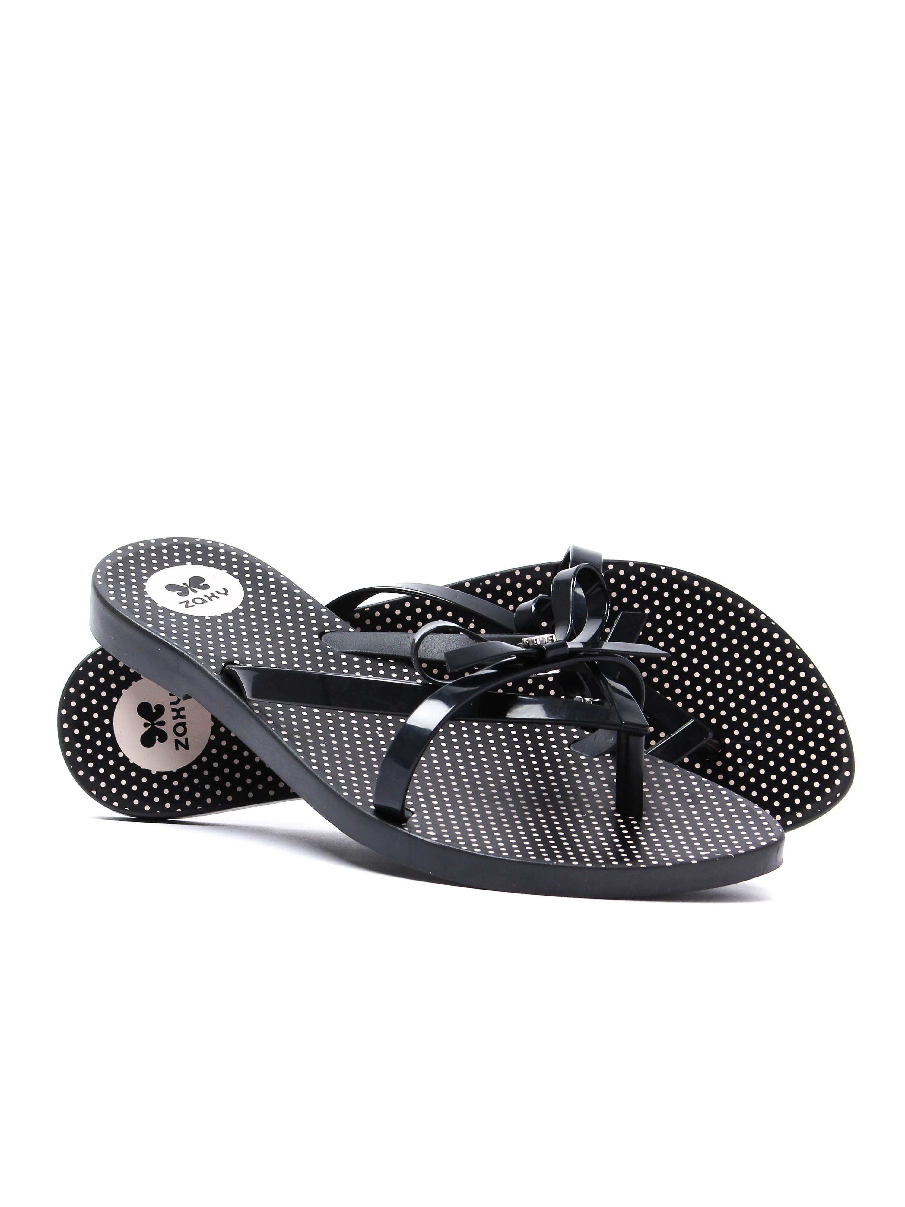 Zaxy Women's Fresh Bow Flip Flops - Black