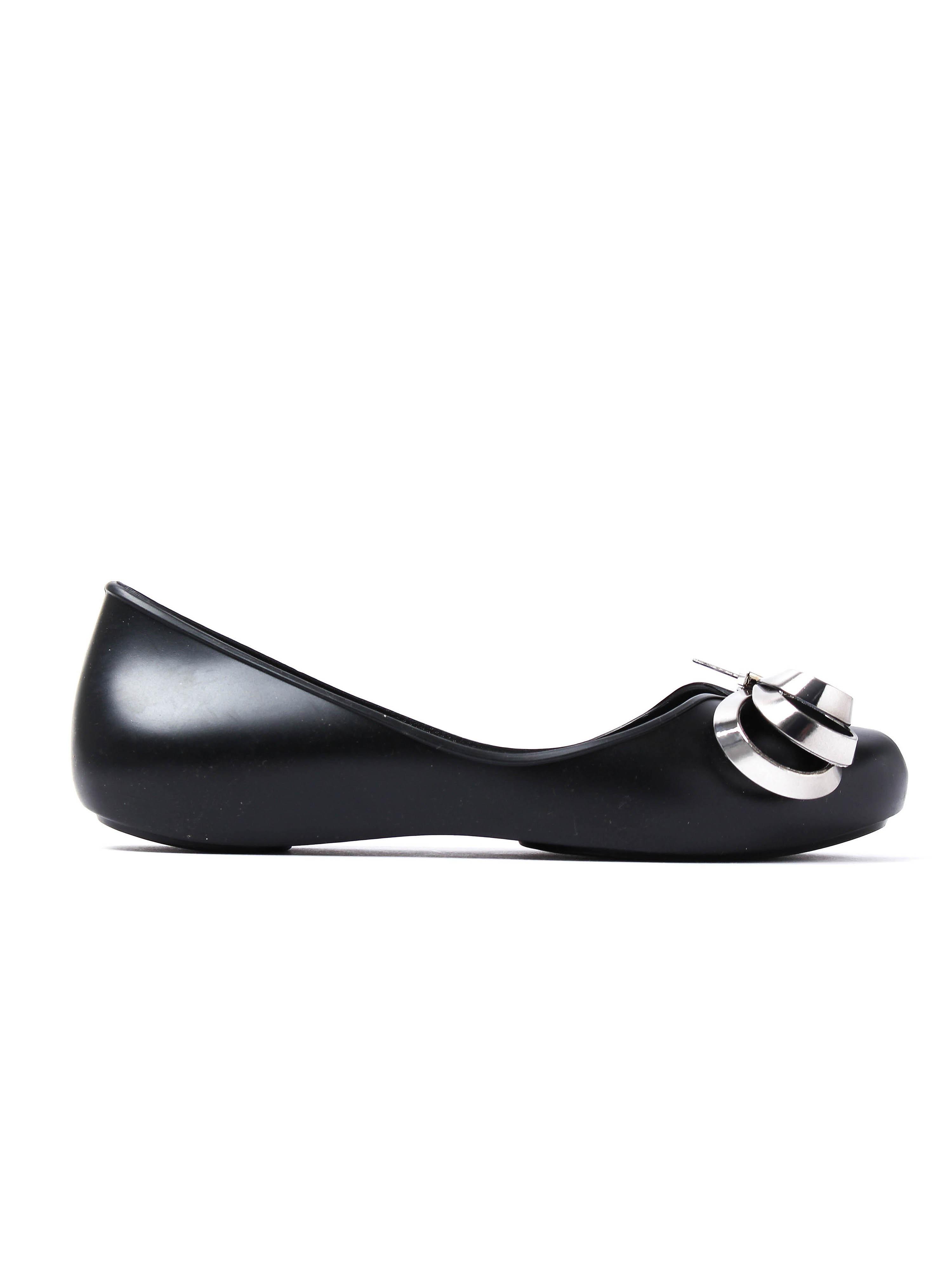 Zaxy Women's Luxury Ribbon Ballerina Pumps - Black/Silver