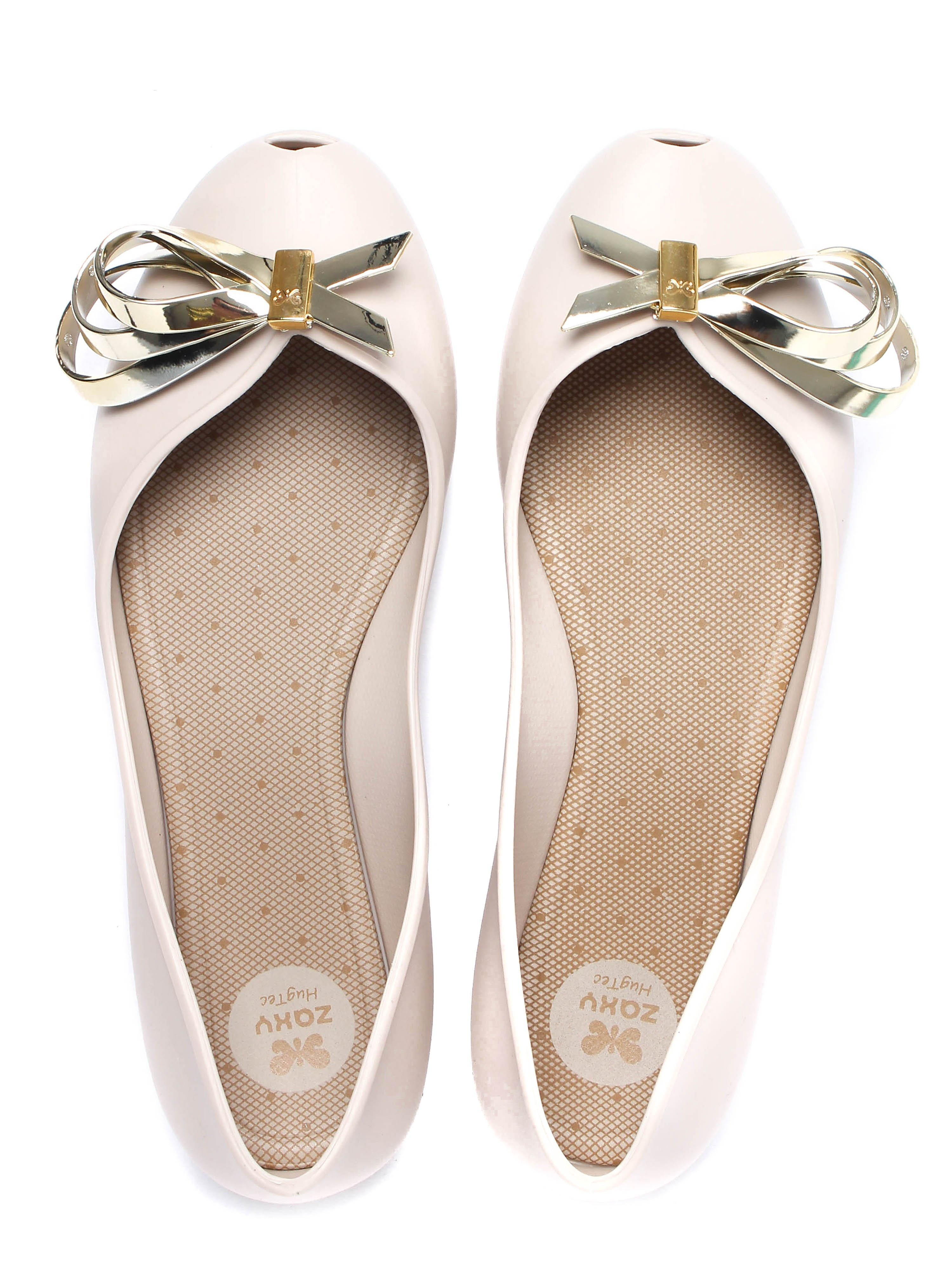 Zaxy Women's Luxury Ribbon Ballerina Pumps - Ivory/Gold