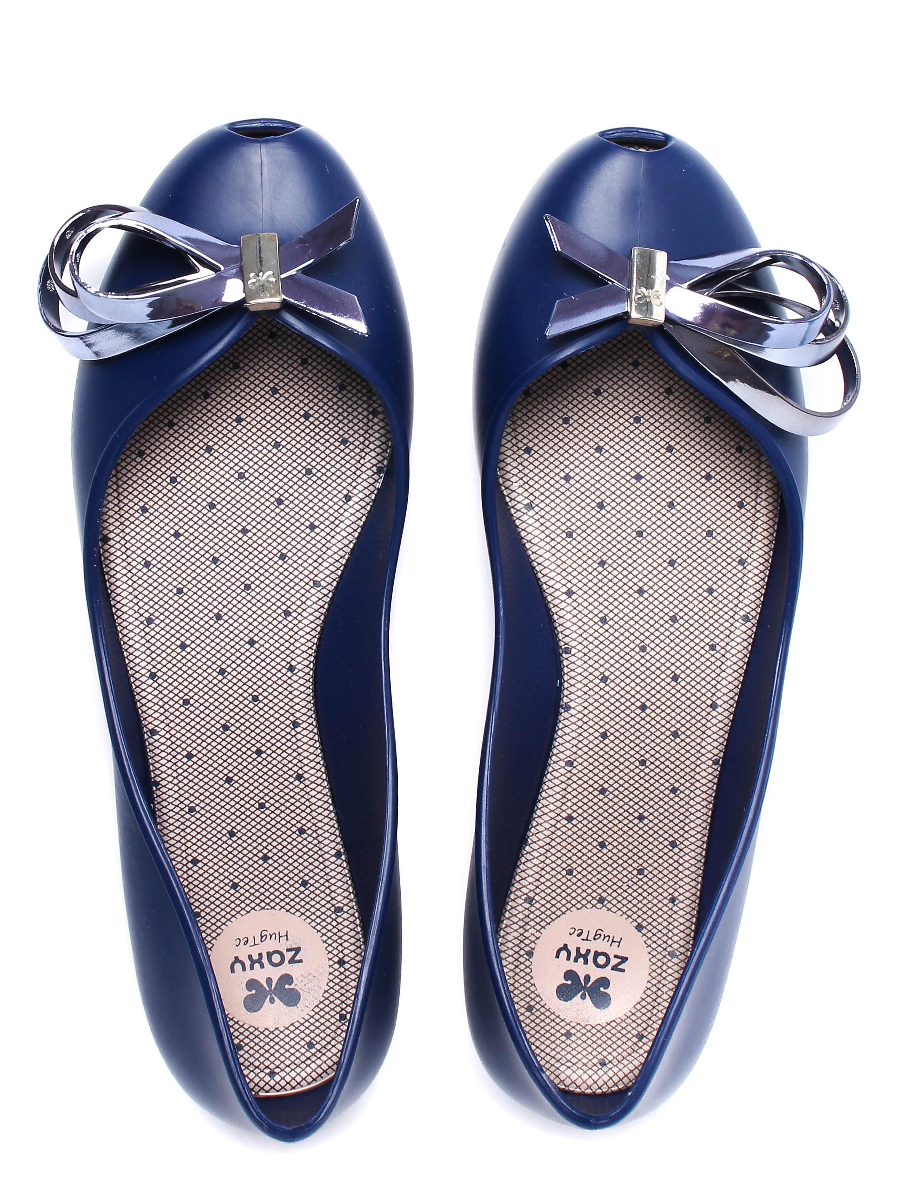 Zaxy Women's Luxury Ribbon Ballerina Pumps - Navy