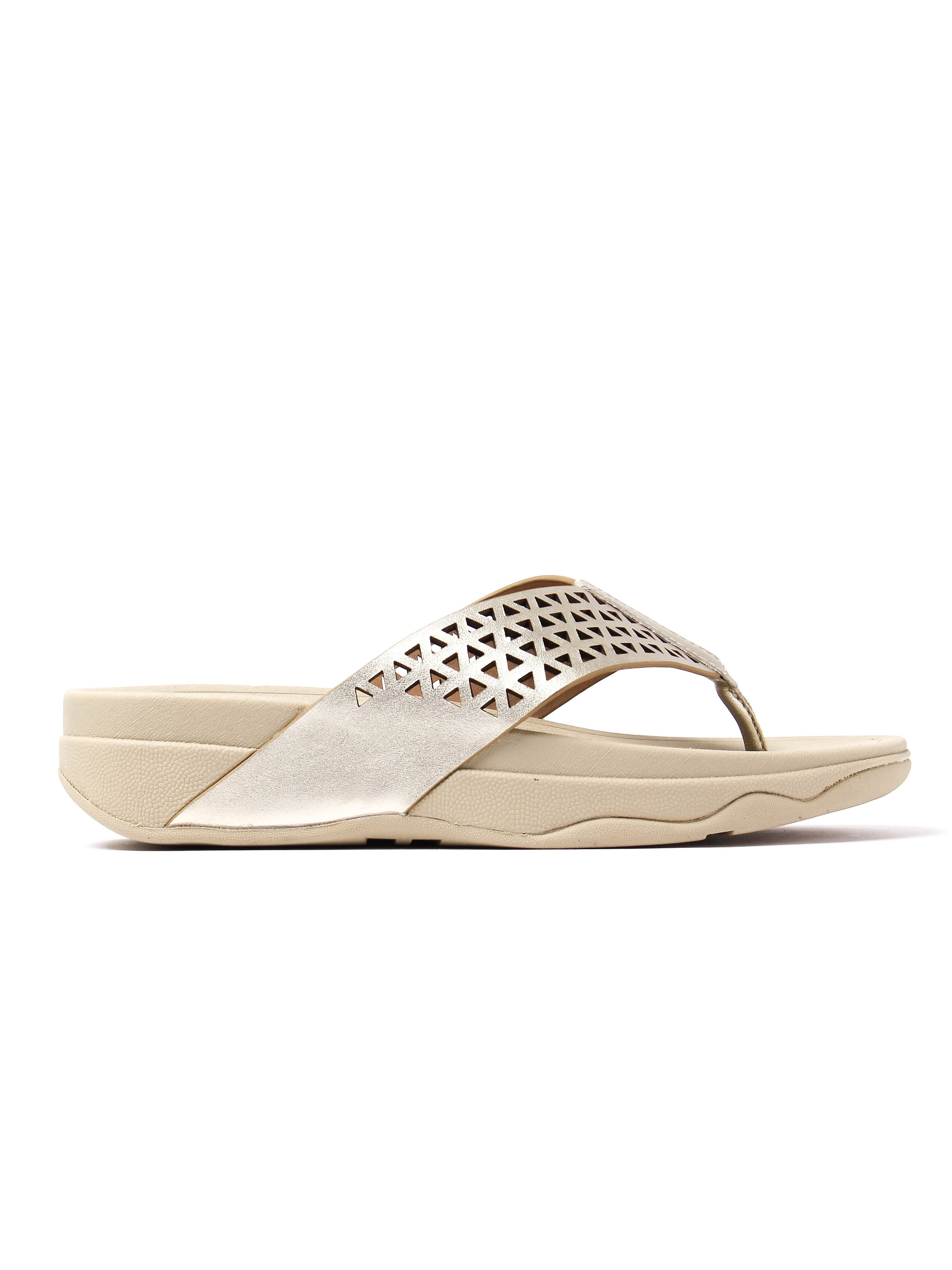 FitFlop Women's Lattice Surfa Sandals - Pale Gold Leather