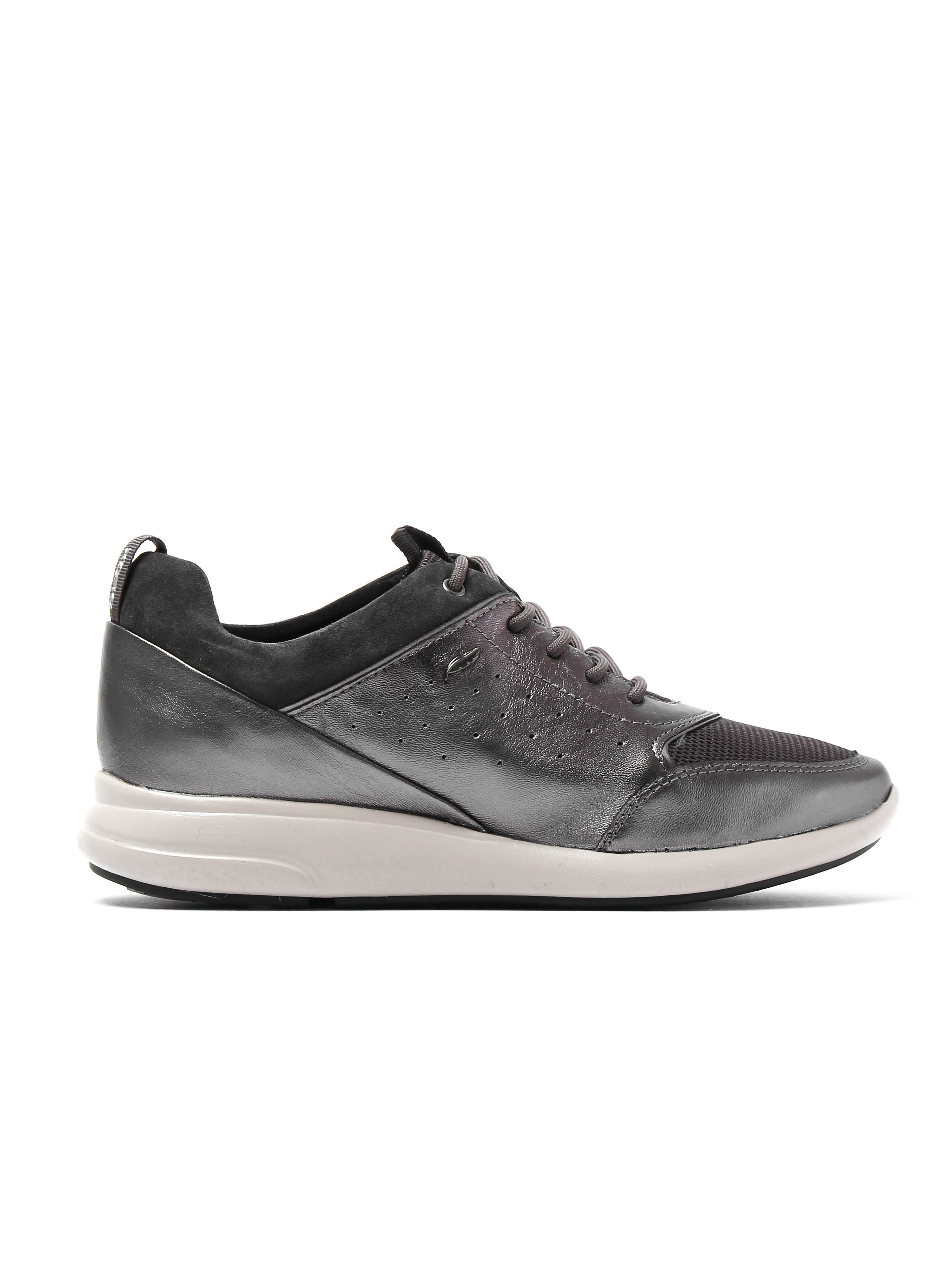 Geox Women's D Ophira Trainers - Gun Metal Leather