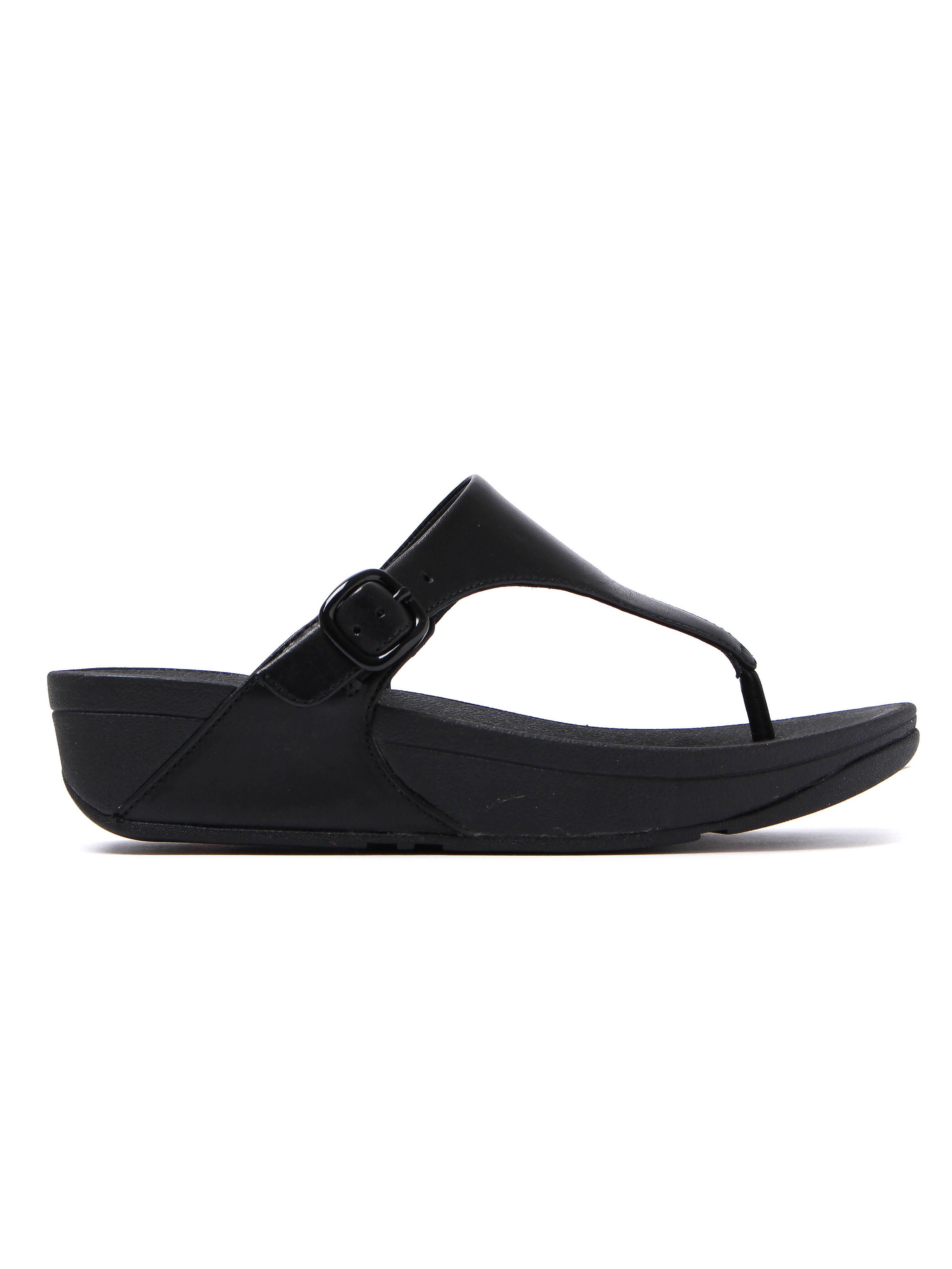 FitFlop Women's The Skinny Toe-Post Sandals - Black Leather