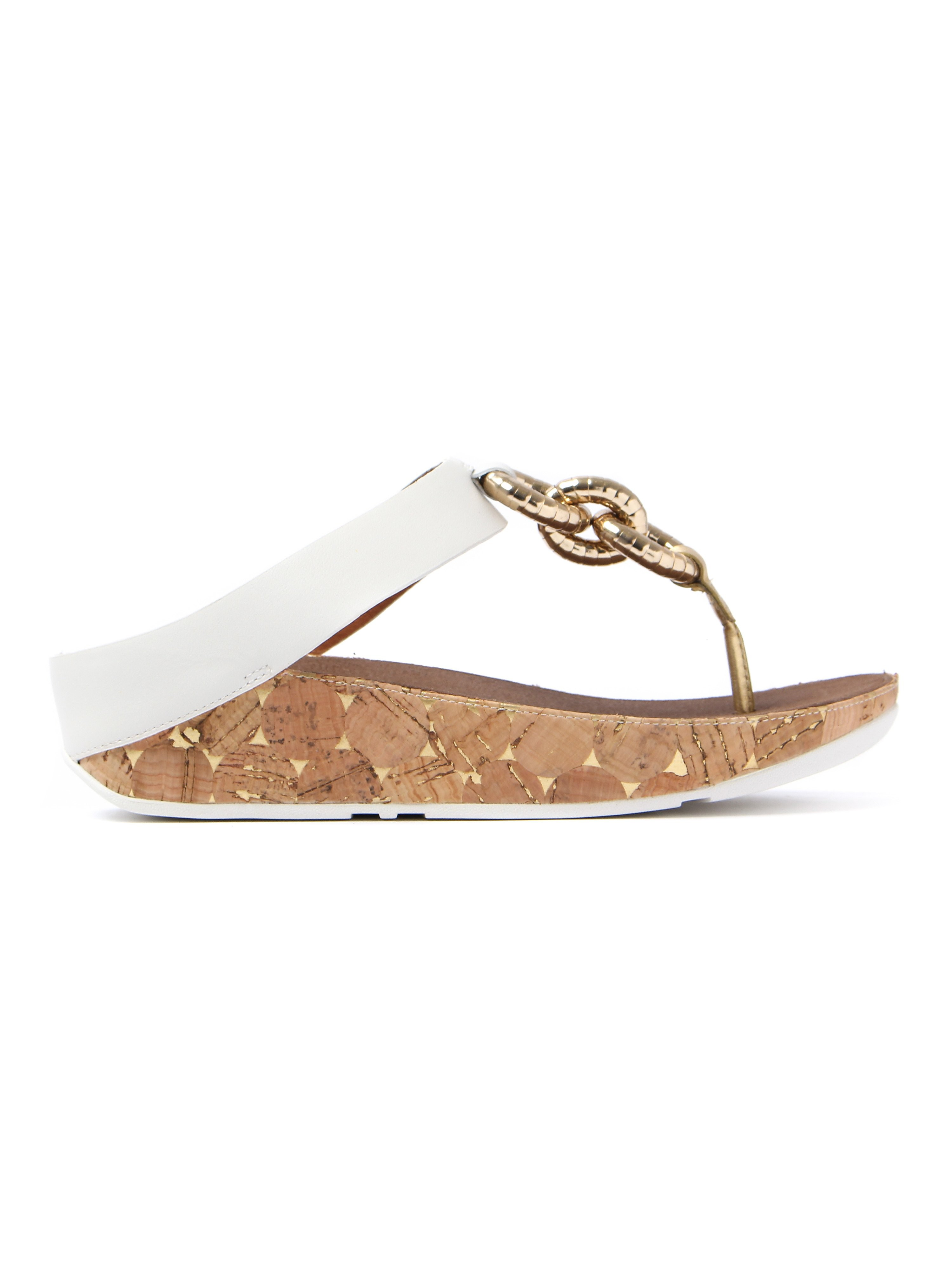 FitFlop Women's Superchain Toe-Post Sandals - Urban White Leather