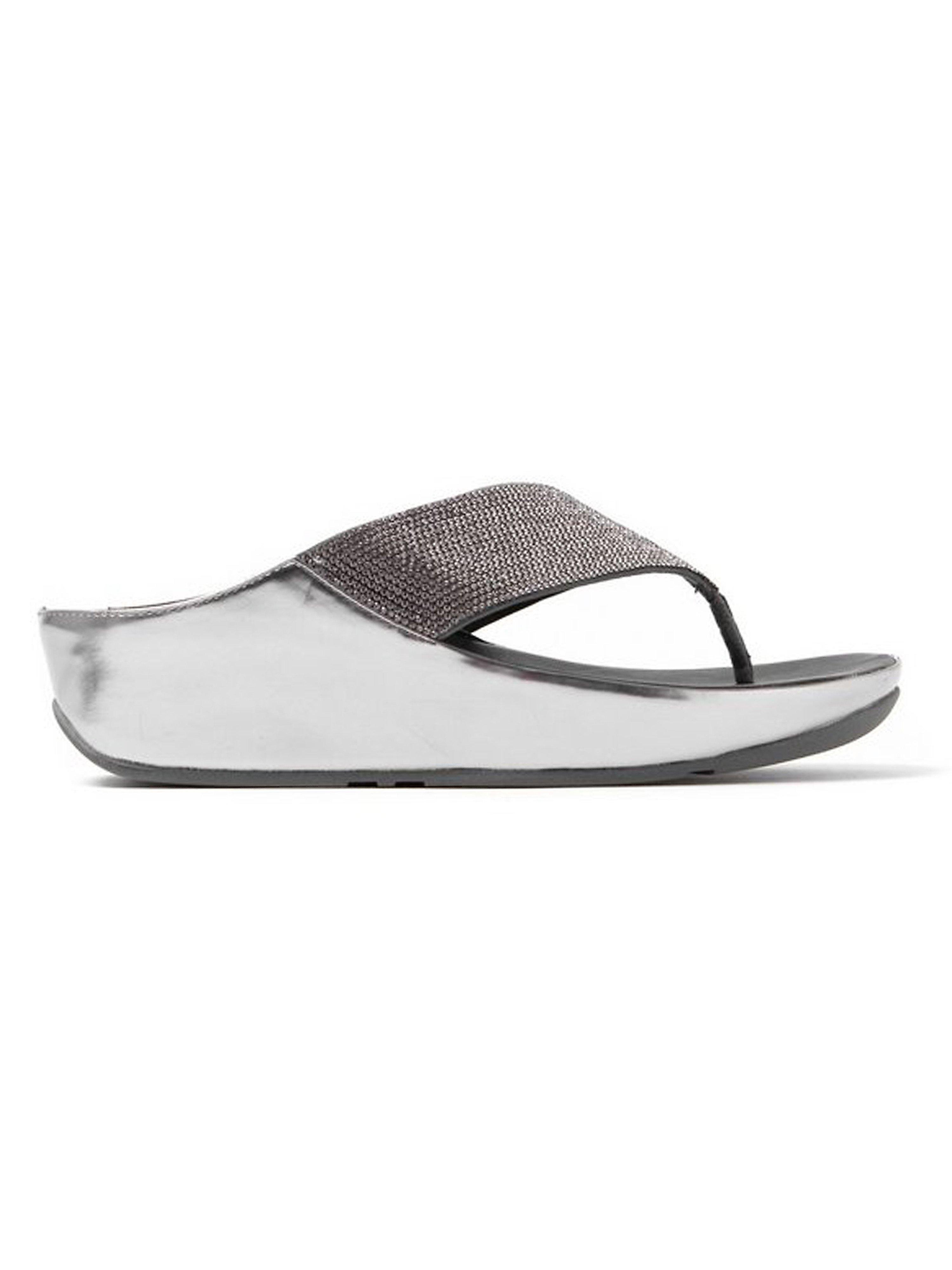 FitFlop Women's Crystall Slide Cross Strap Sandals - Pewter