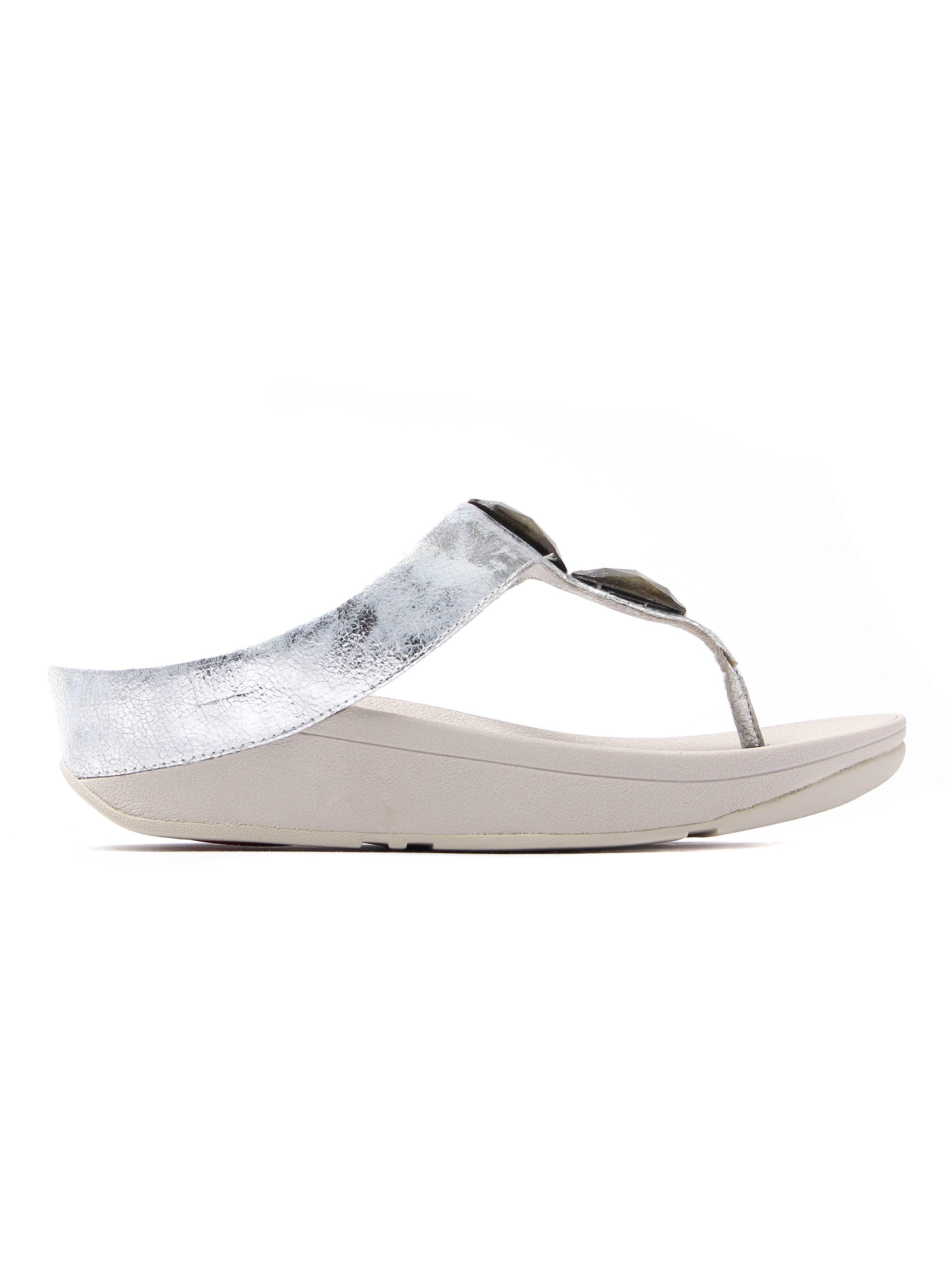 FitFlop Women's Pierra Leather Toe-Post Sandals - Silver