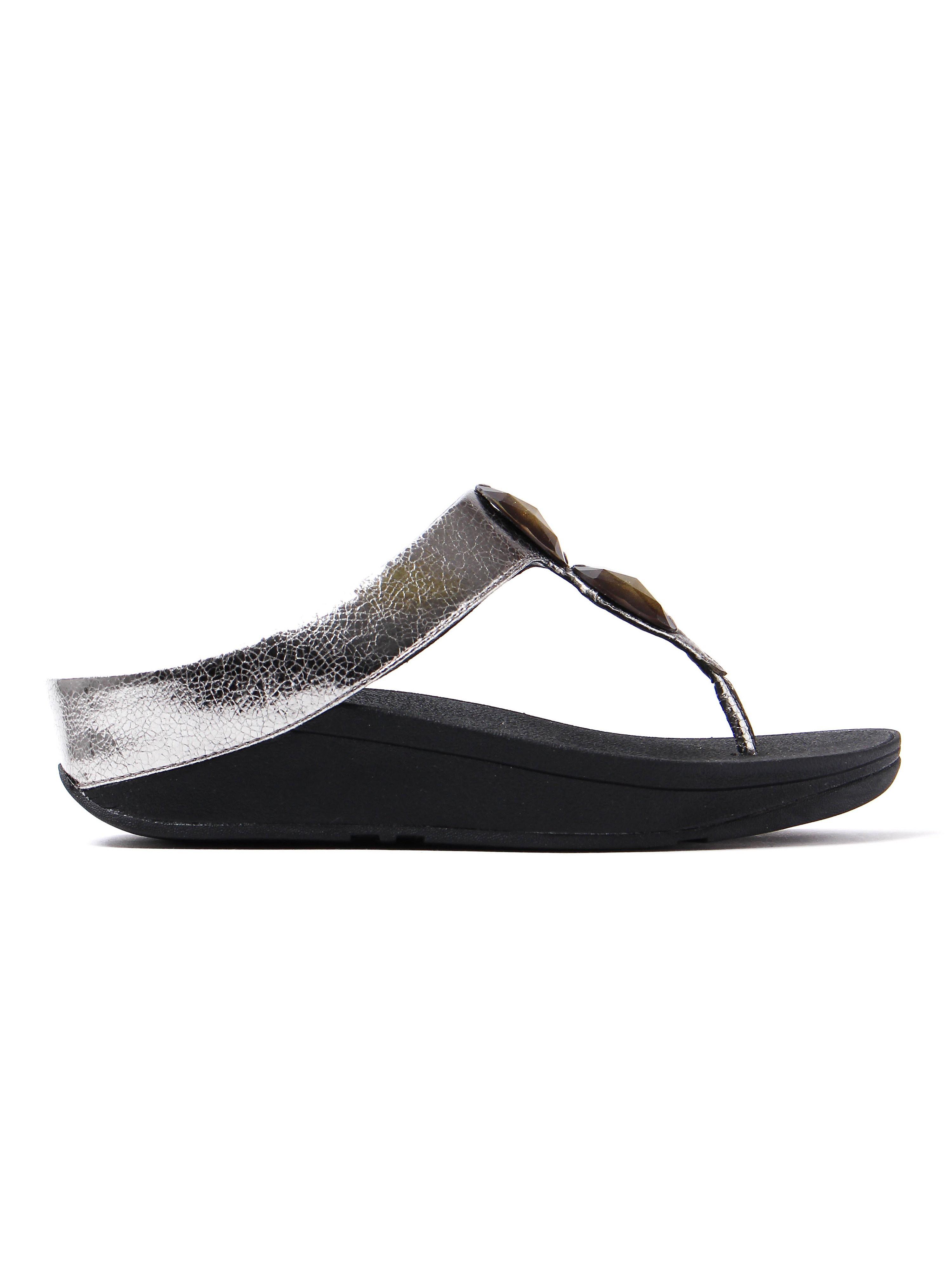 FitFlop Women's Pierra Leather Toe-Post Sandals - Pewter