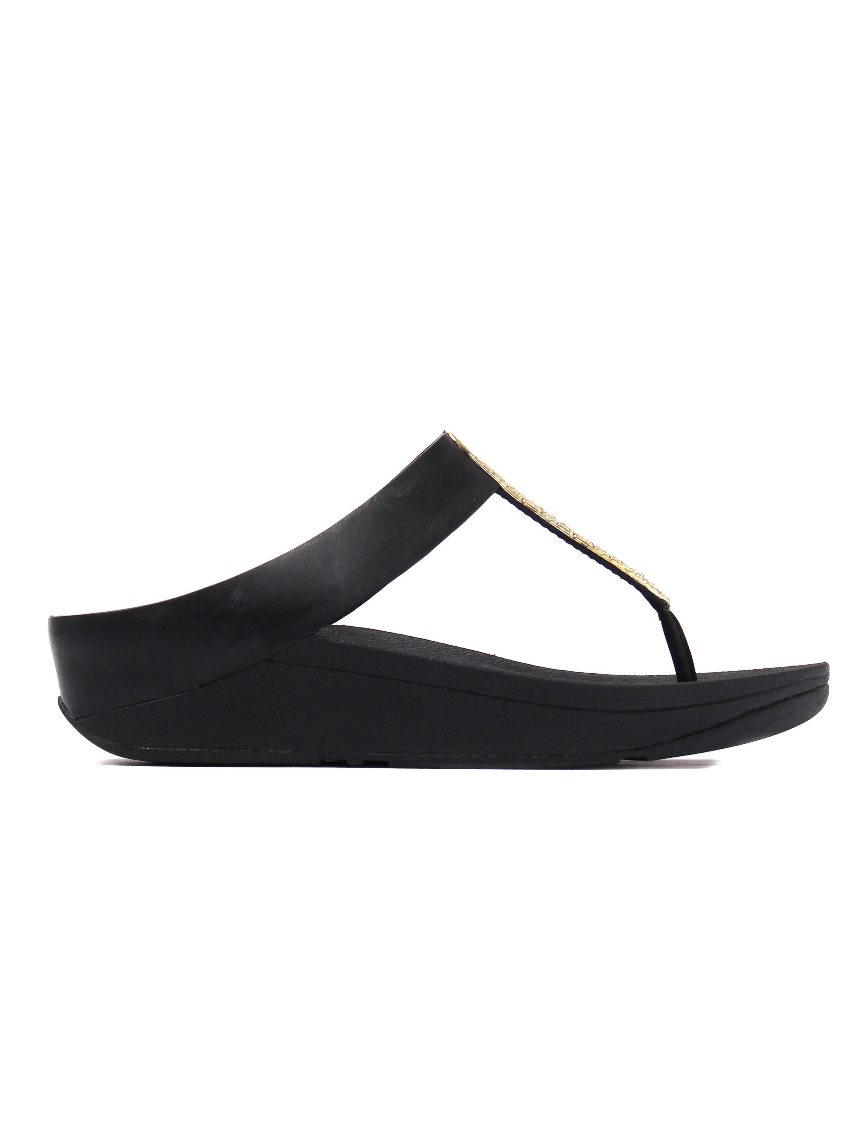 FitFlop Women's Barrio Metal Look Toe Thong Sandals - Black