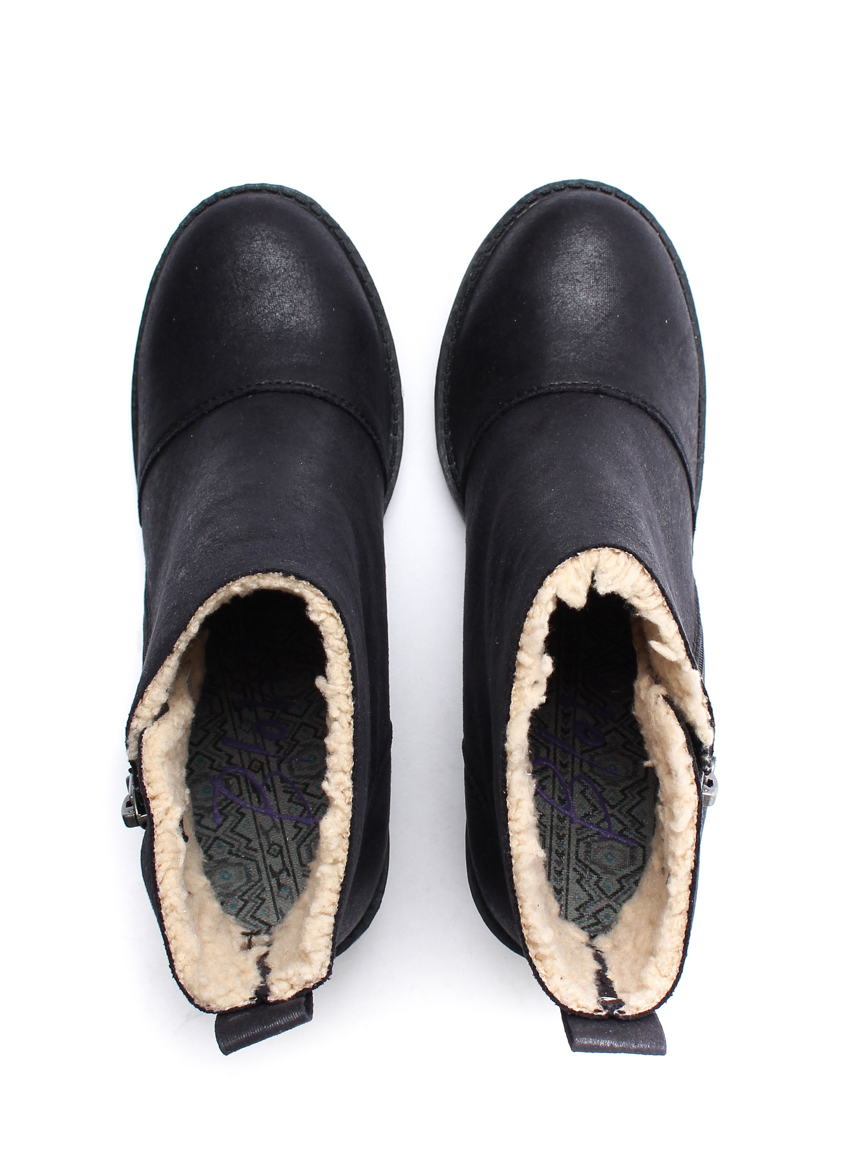 Blowfish Women's Jumper Shearling Heeled Boots - Black