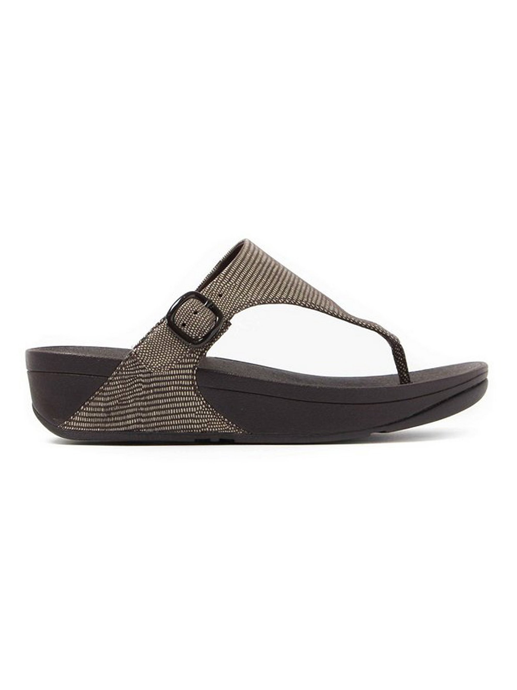 FitFlop Women's The Skinny Lizard Print Toe-Post Sandals - Chocolate Brown