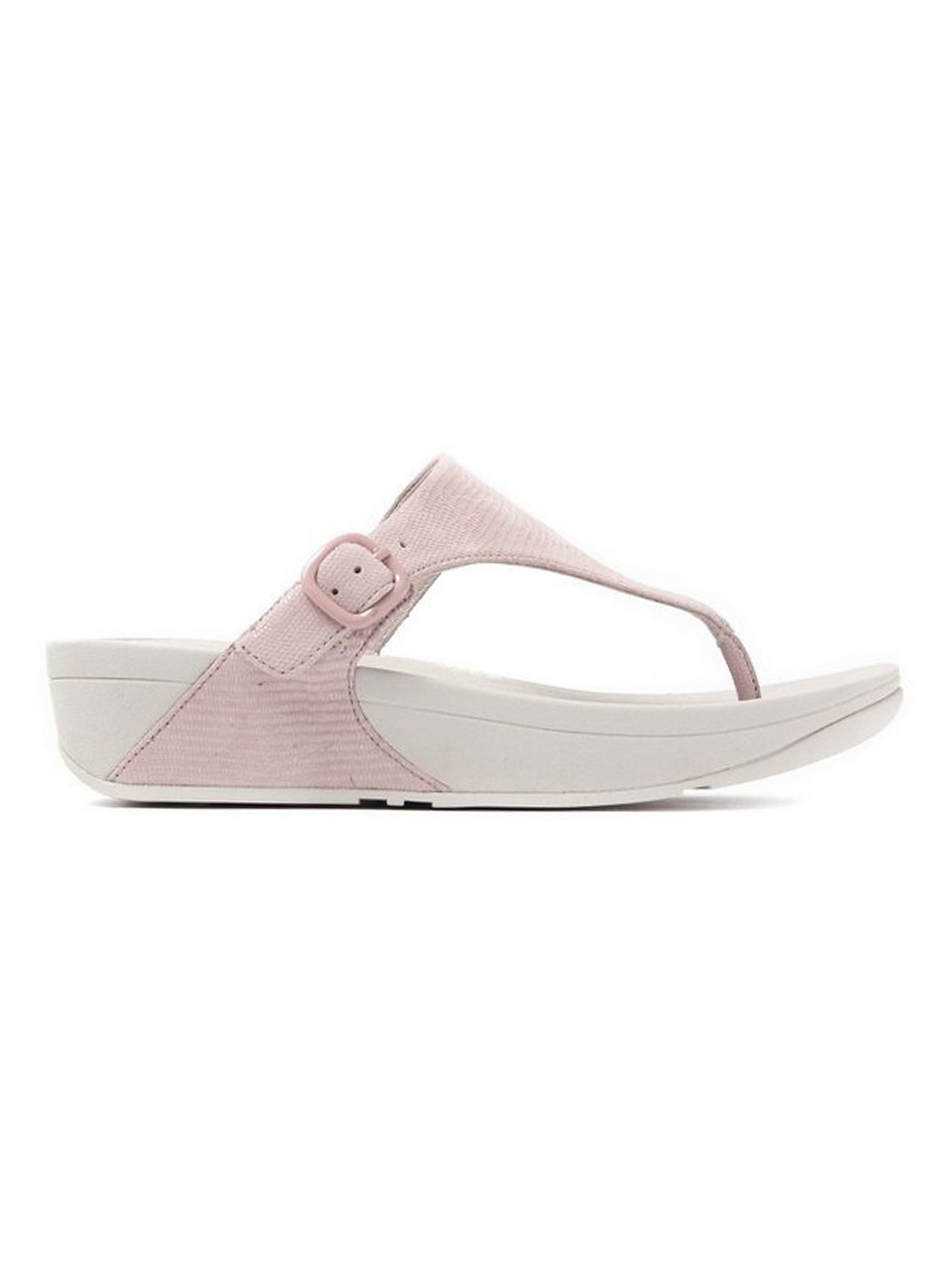 FitFlop  Women's The Skinny Lizard Print Toe-Post Sandals - Nude Pink