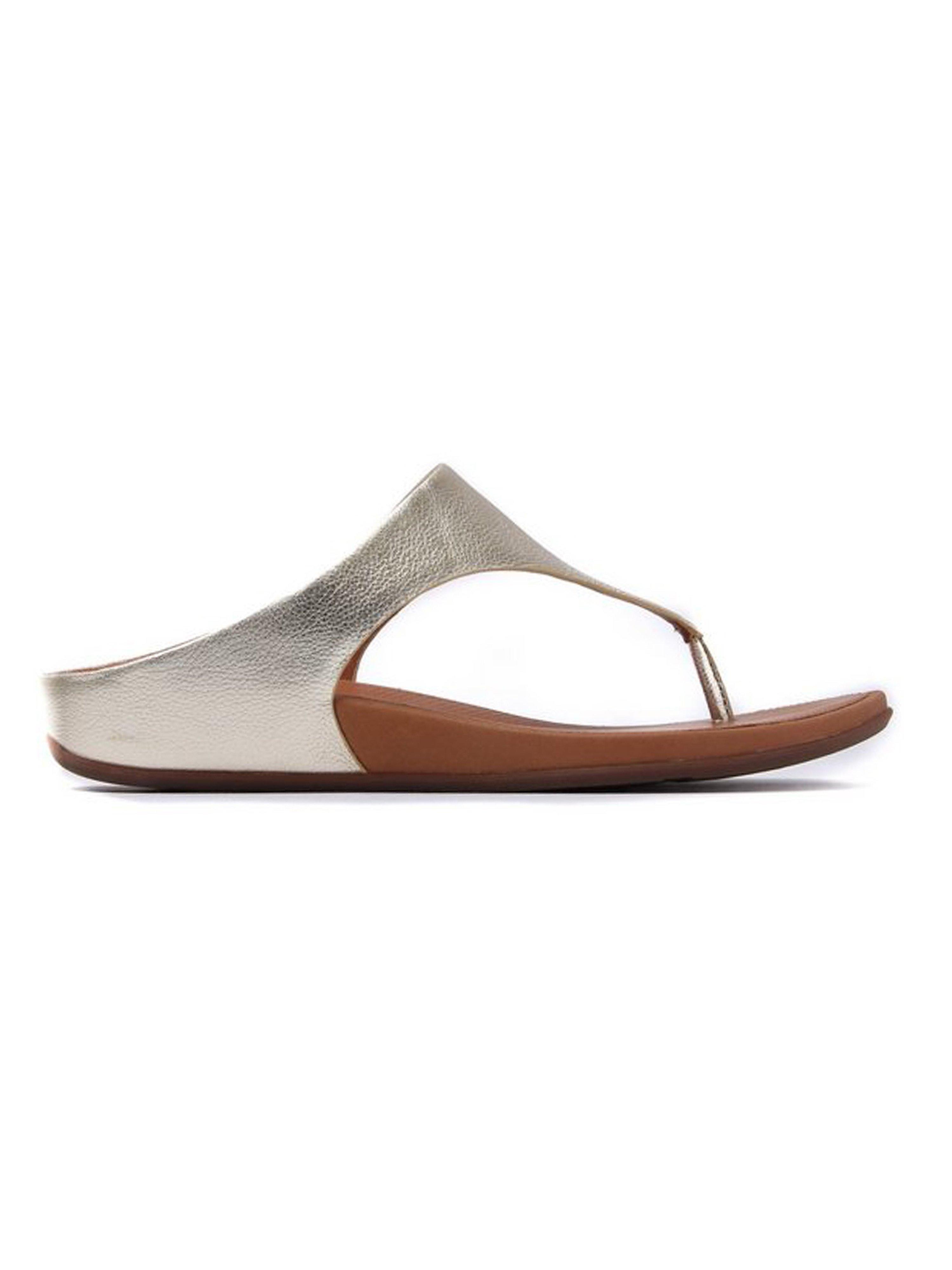 FitFlop Women's Banda Metallic Leather Toe-Post Sandals - Pale Gold