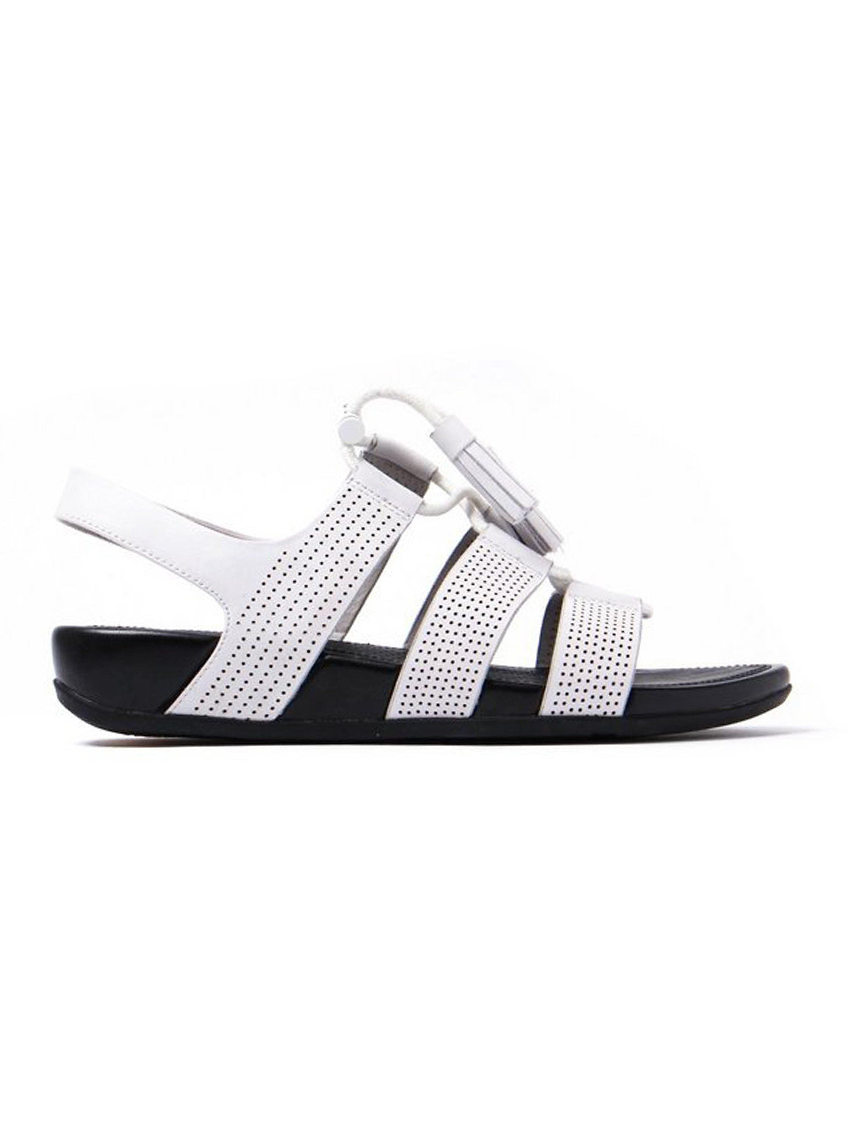 FitFlop Women's Gladdie Lace-Up Perforated Leather Sandals - White