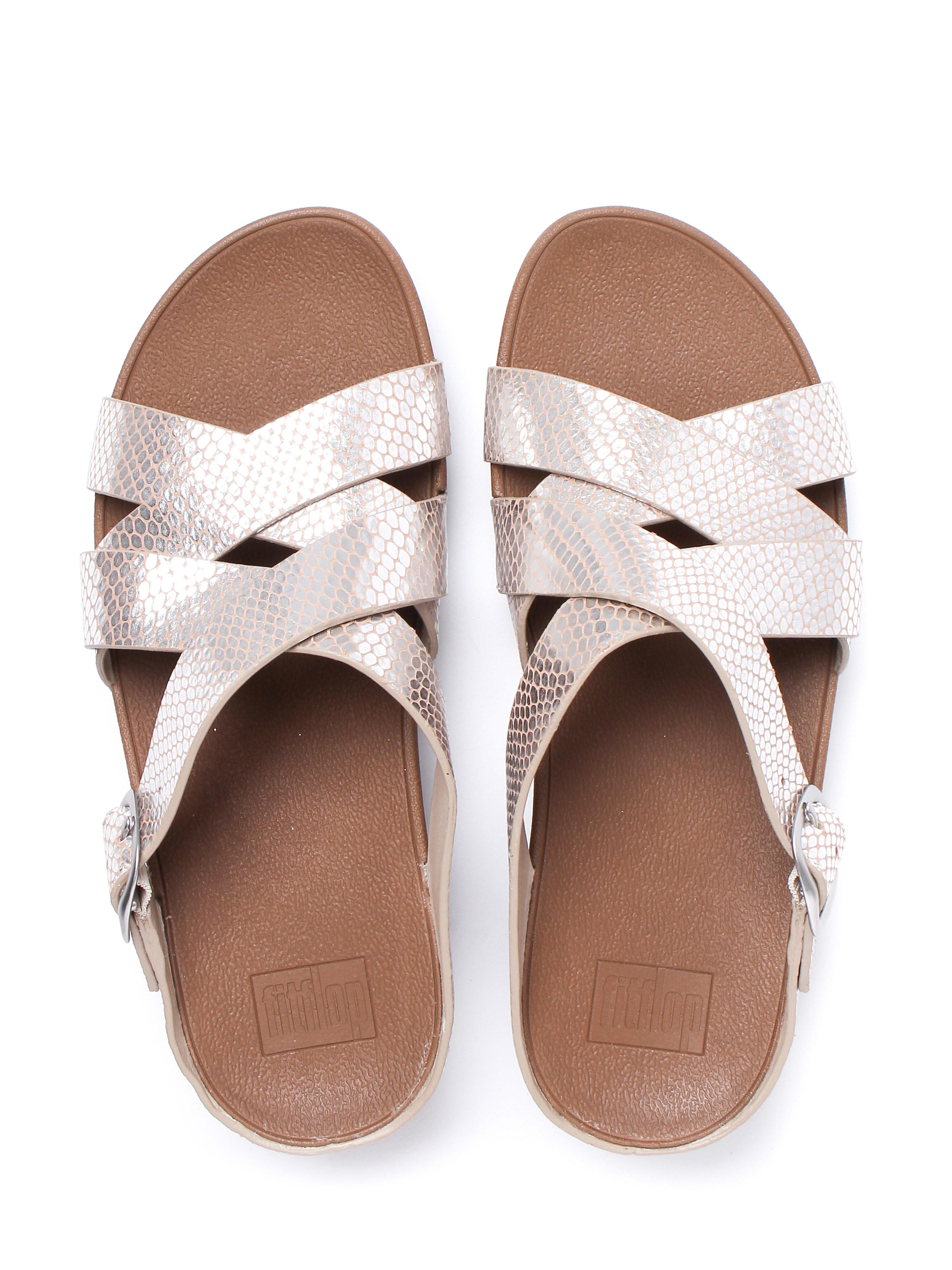 FitFlop Women's Skinny Slide Sandals - Silver Snake