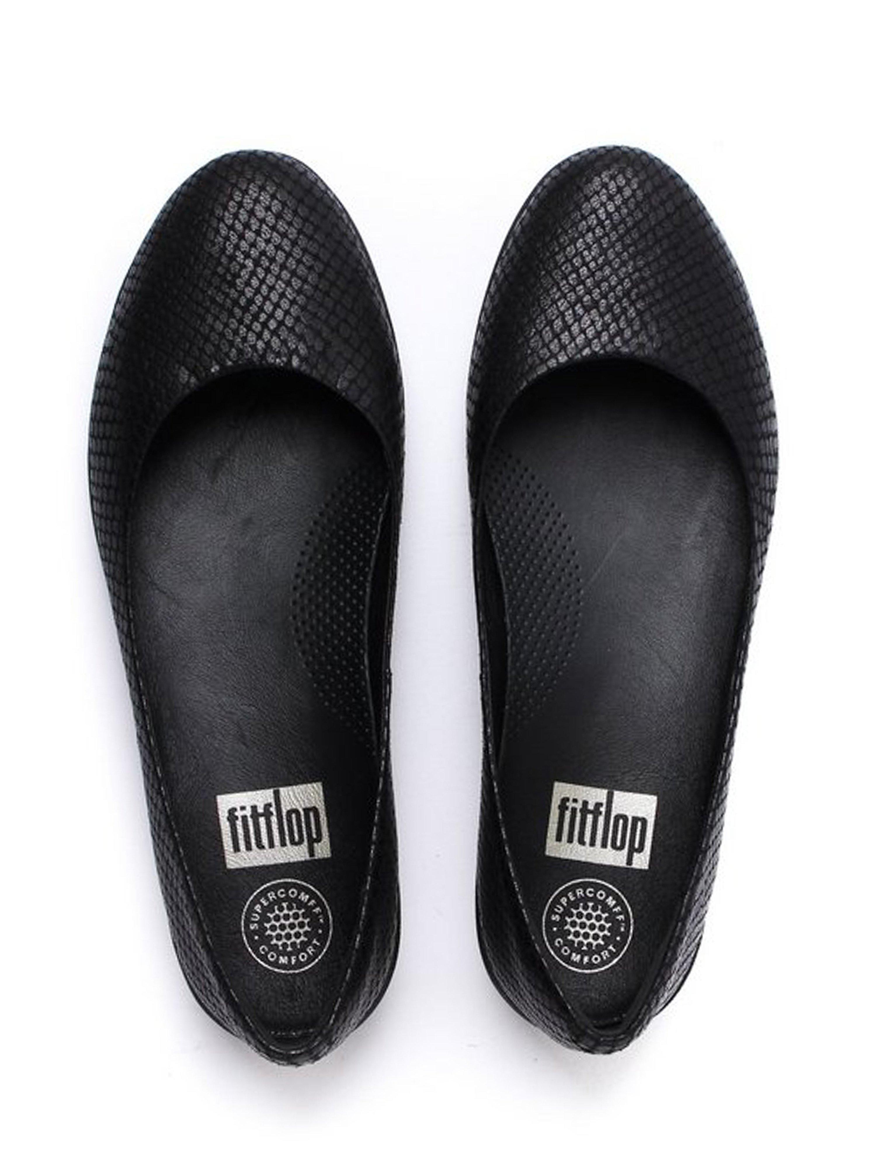FitFlop Women's Superballerina Shoes - Black Snake