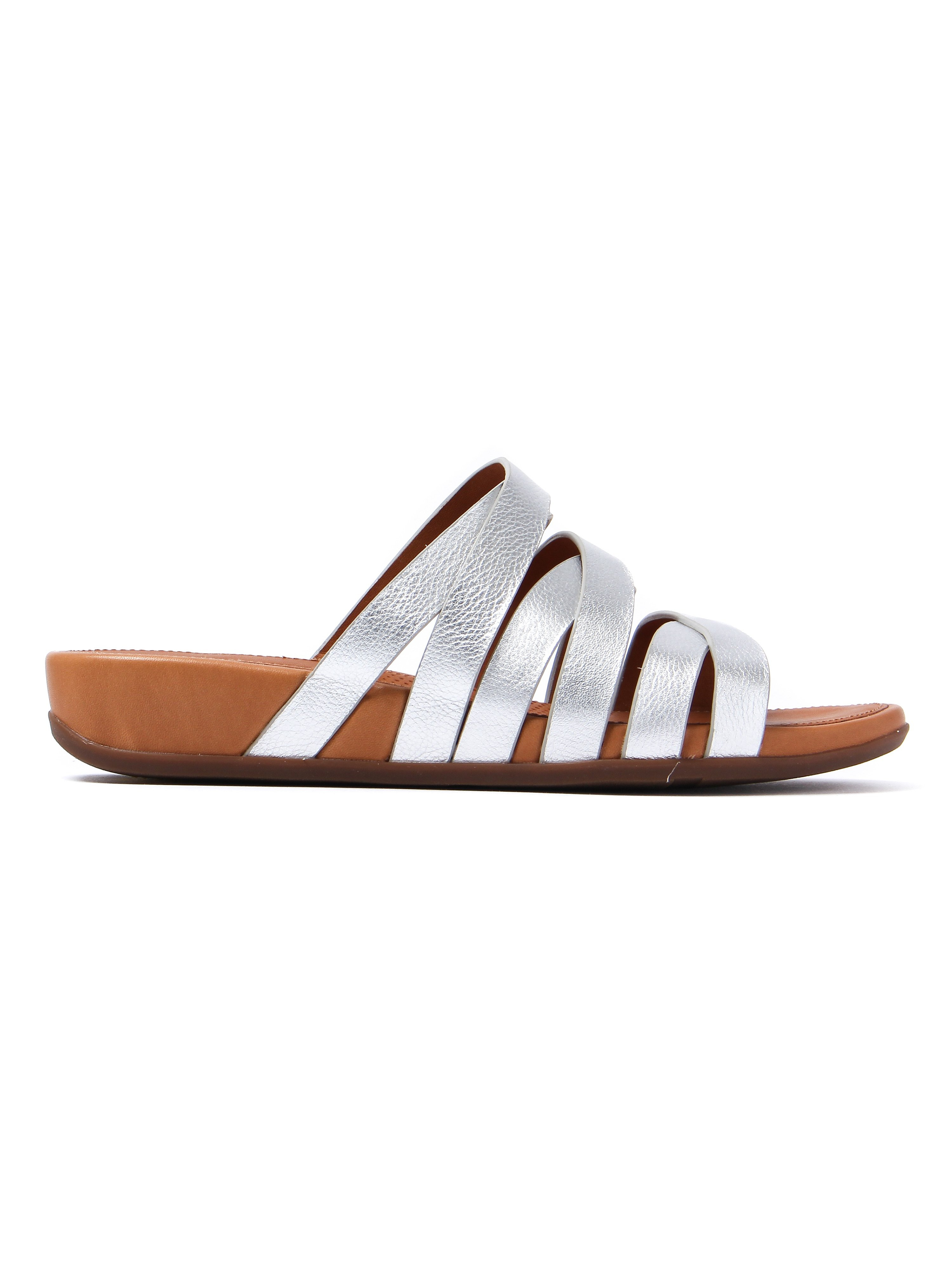 FitFlop Women's Lumy Leather Slide Sandals - Silver