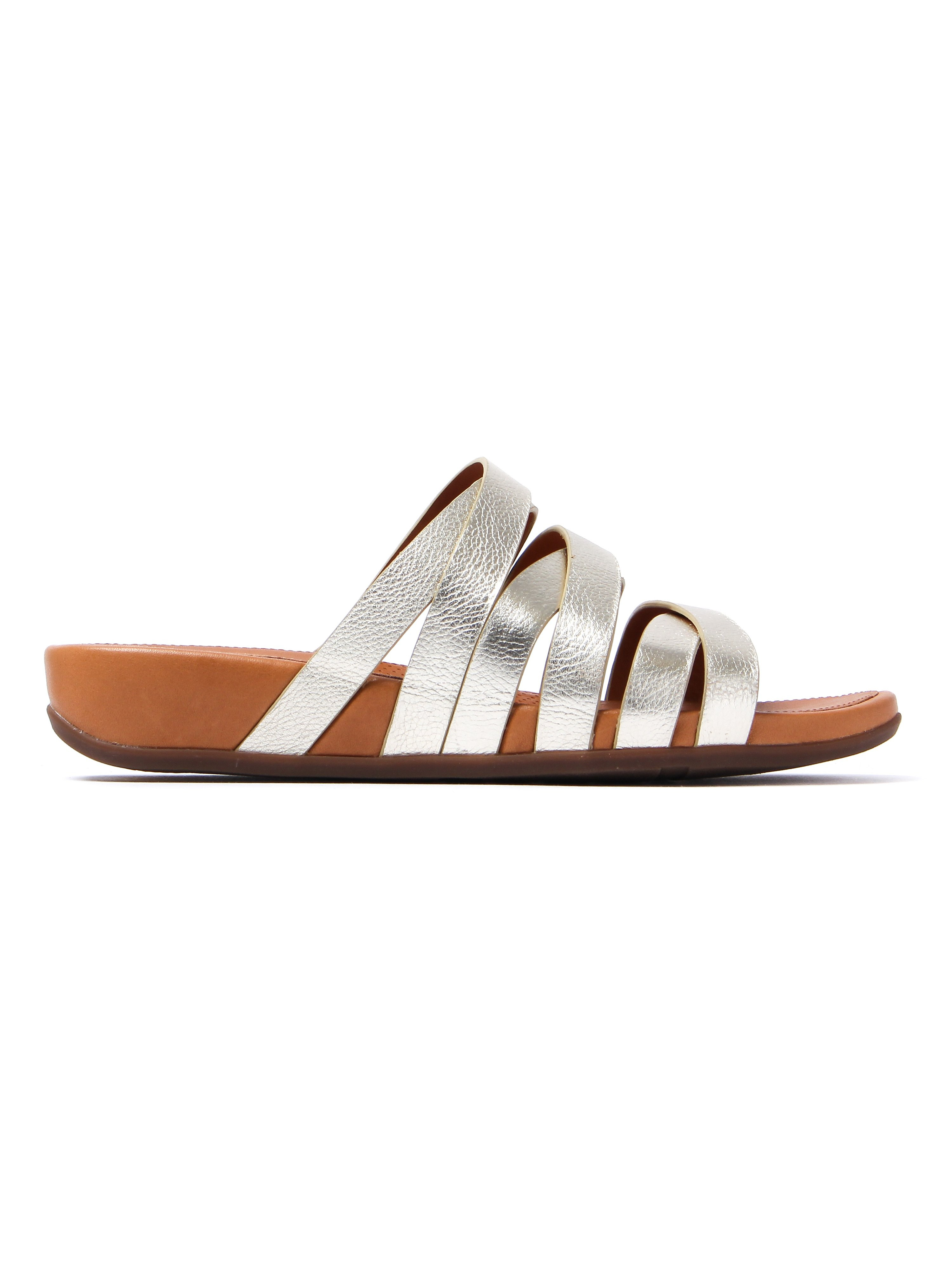FitFlop Women's Lumy Leather Slide Sandals - Pale Gold