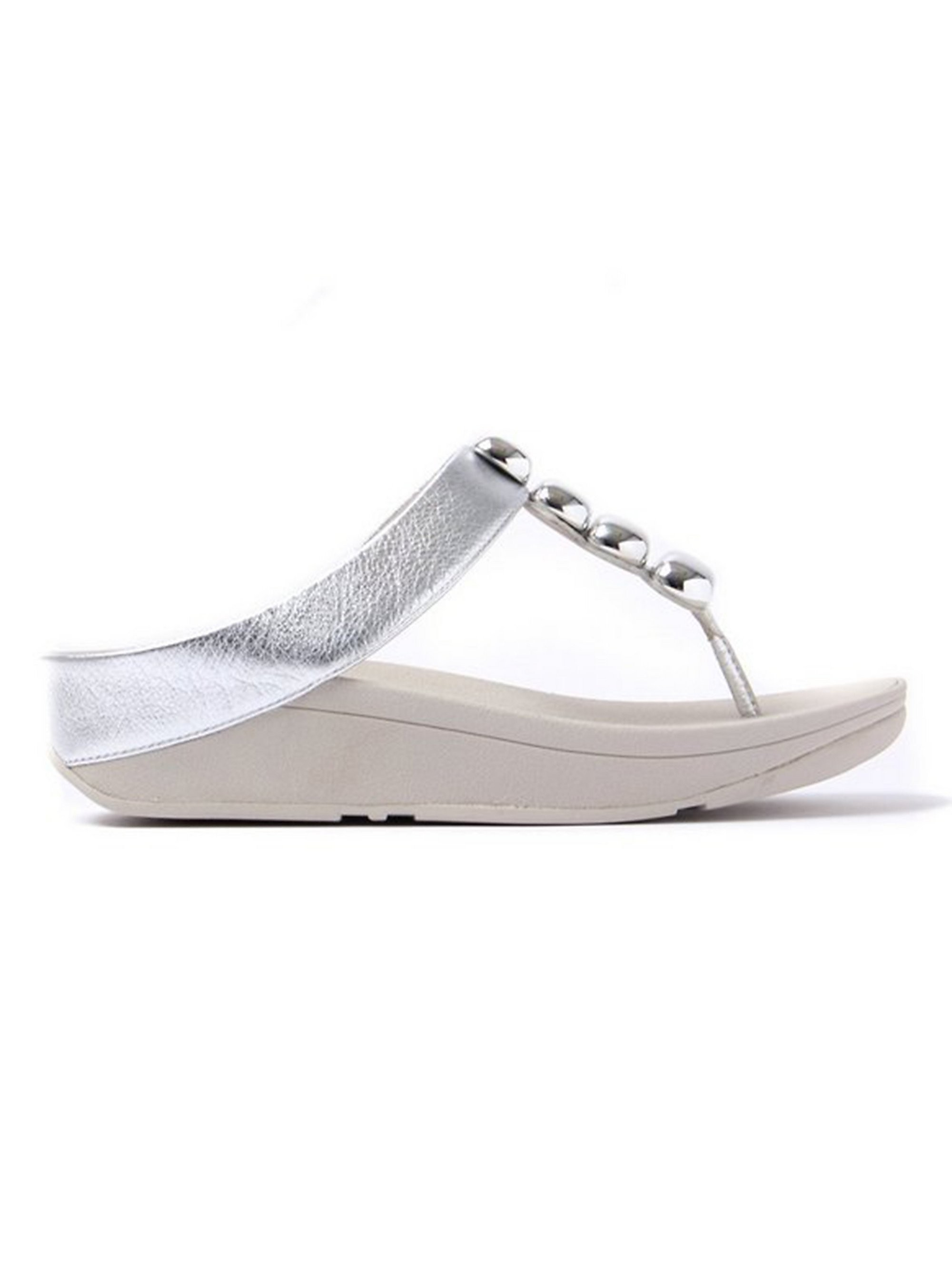 FitFlop Women's Rola Leather Toe-Post Sandals - Silver