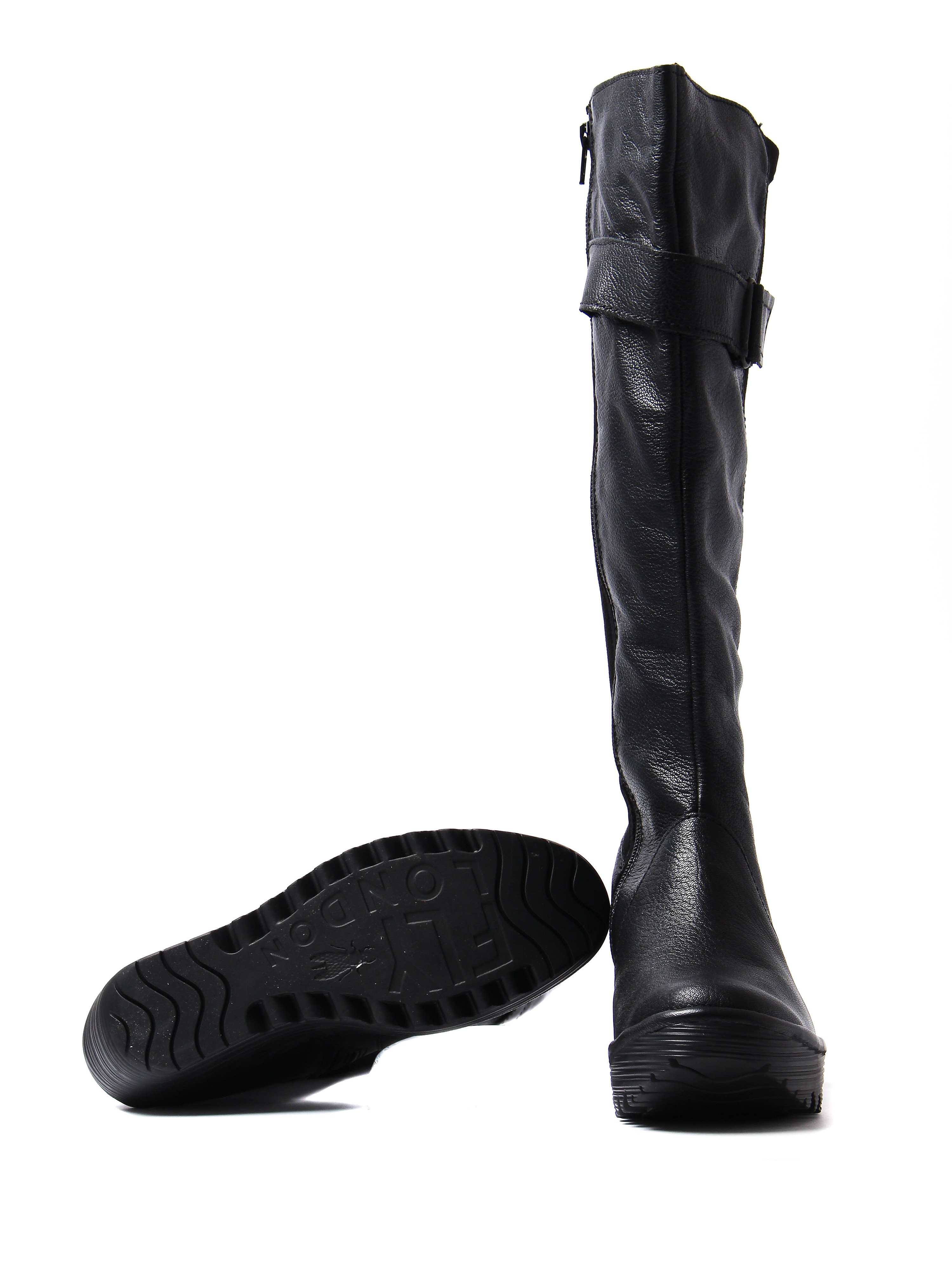 Fly London Women's Yash Tall Boots - Black Leather