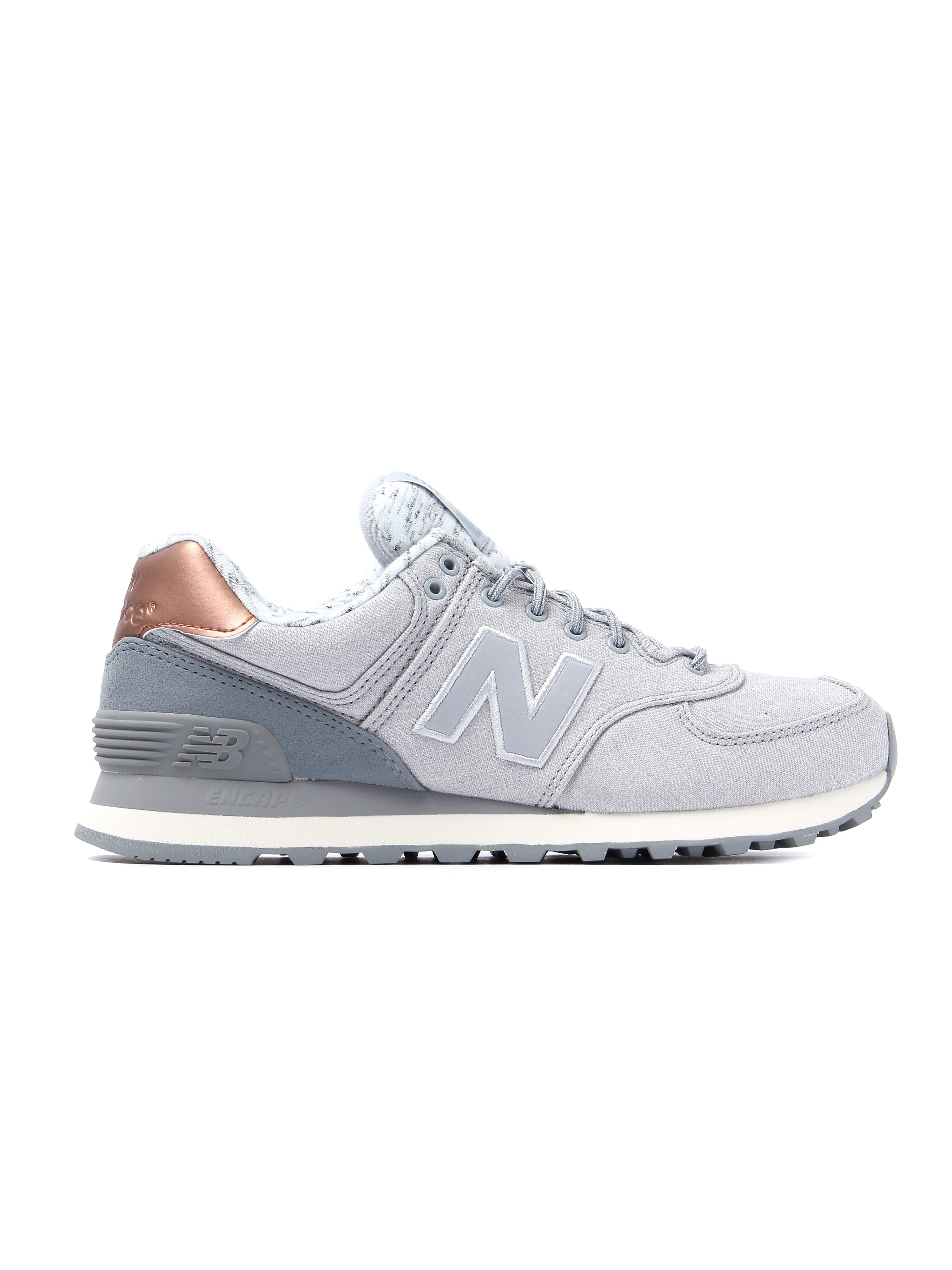 New Balance Women's 574 Low Top Trainers - Grey & Gold