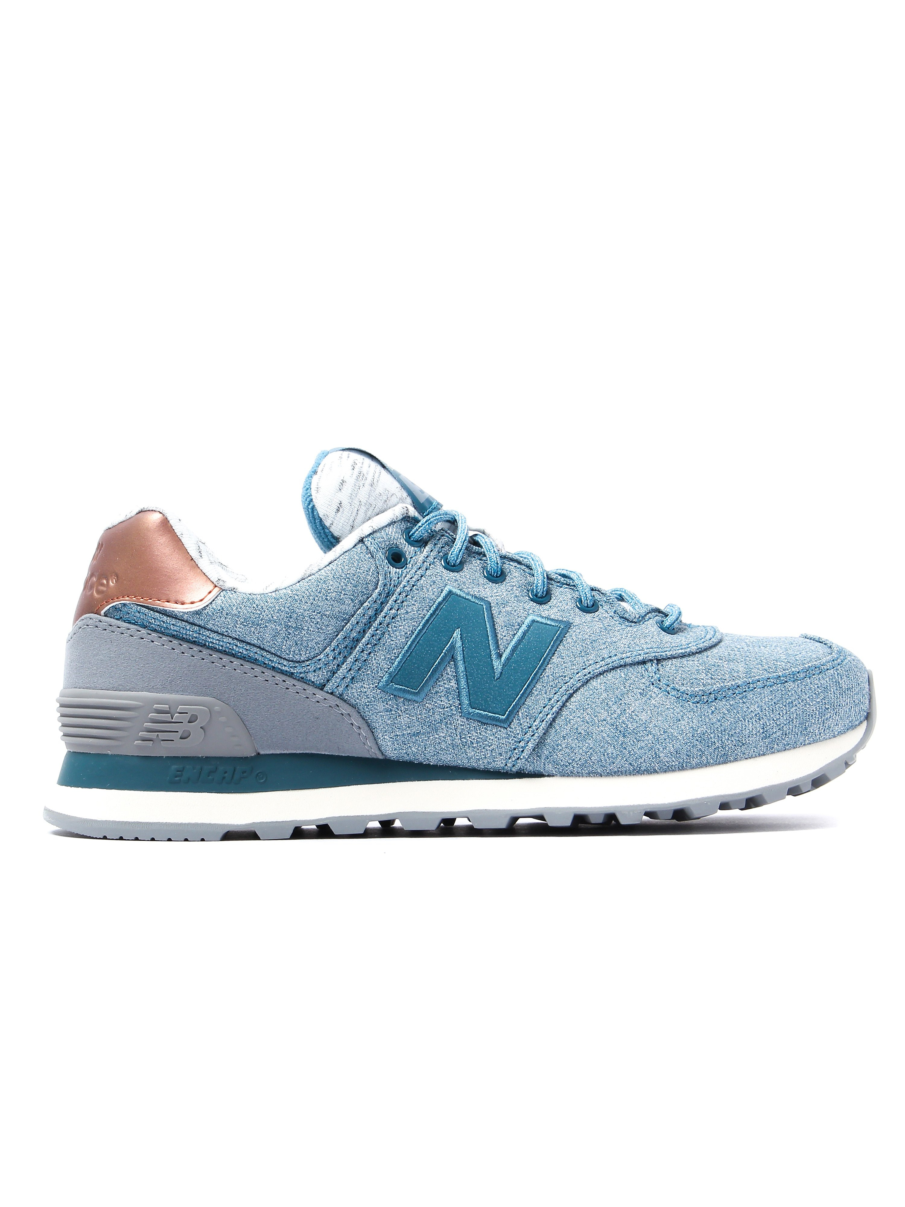 New Balance Women's 574 Low Top Trainers - Blue & Gold