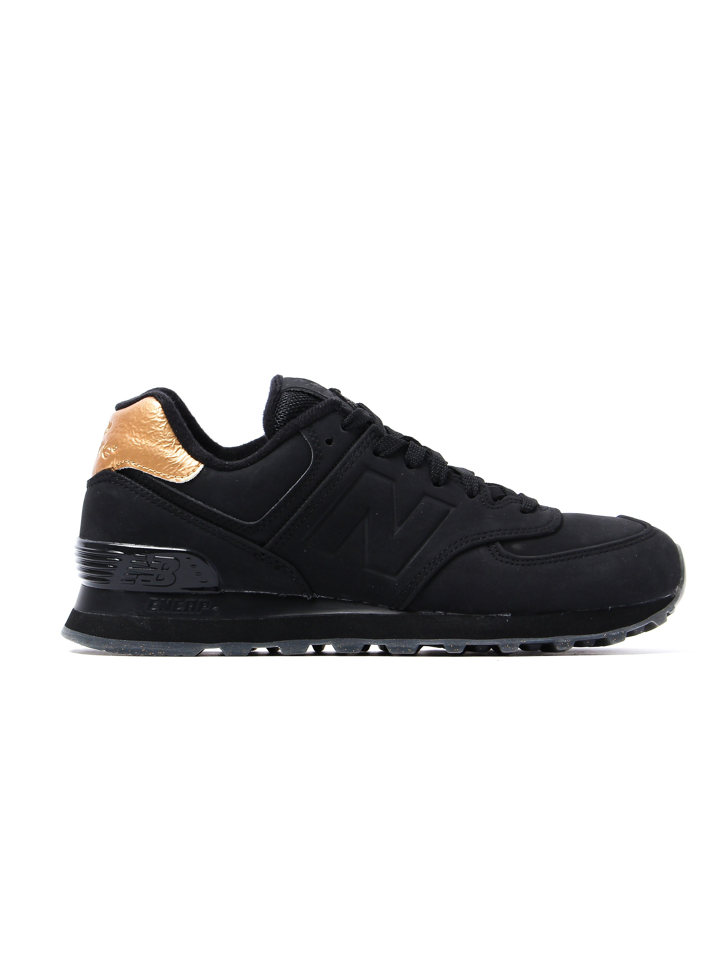 New Balance Women's 574 Low Top Trainers - Black & Gold