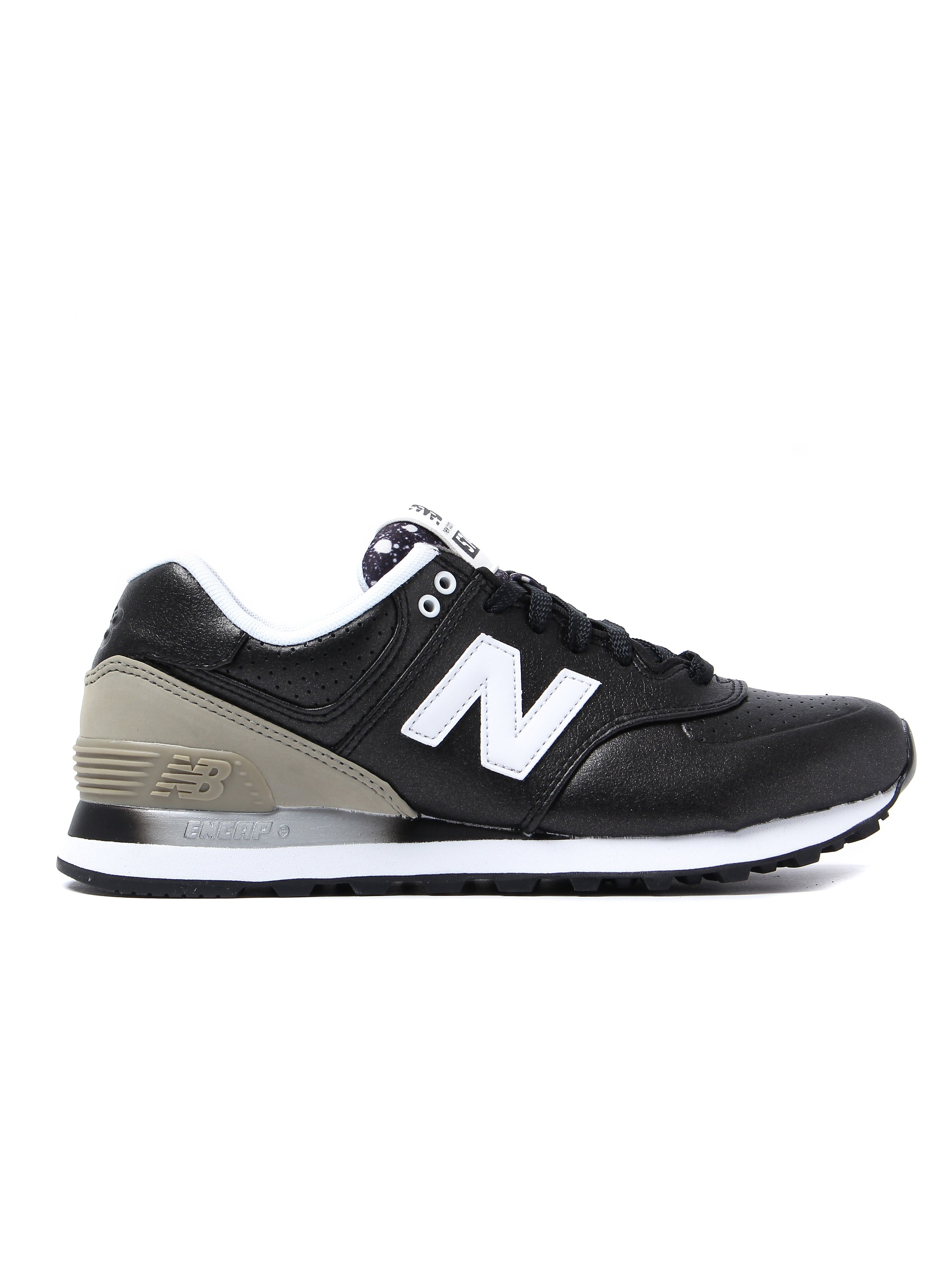 New Balance Women's 574 Low Top Trainers - Black Leather