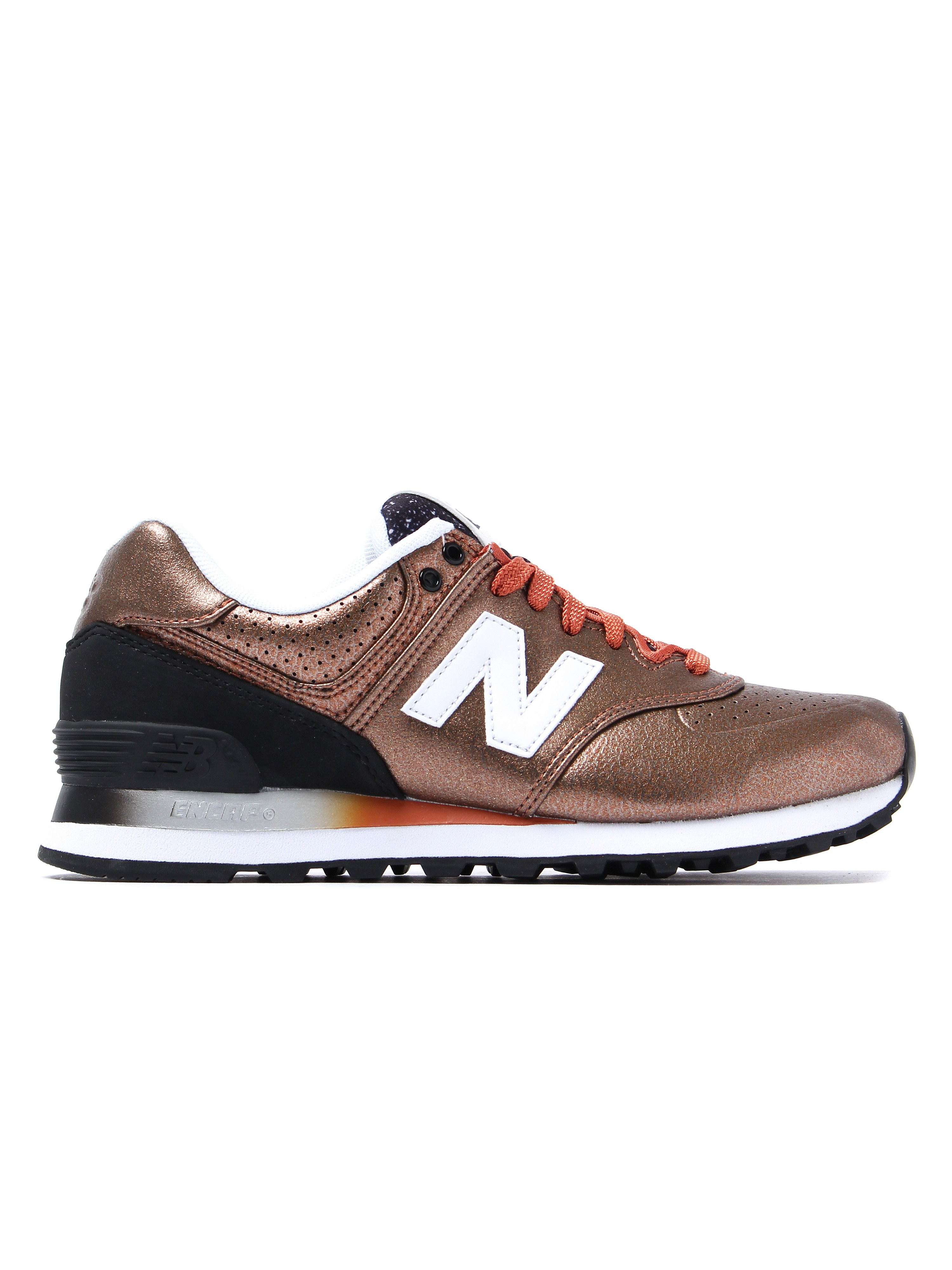 New Balance Women's 574 Low Top Trainers - Rose Gold Leather