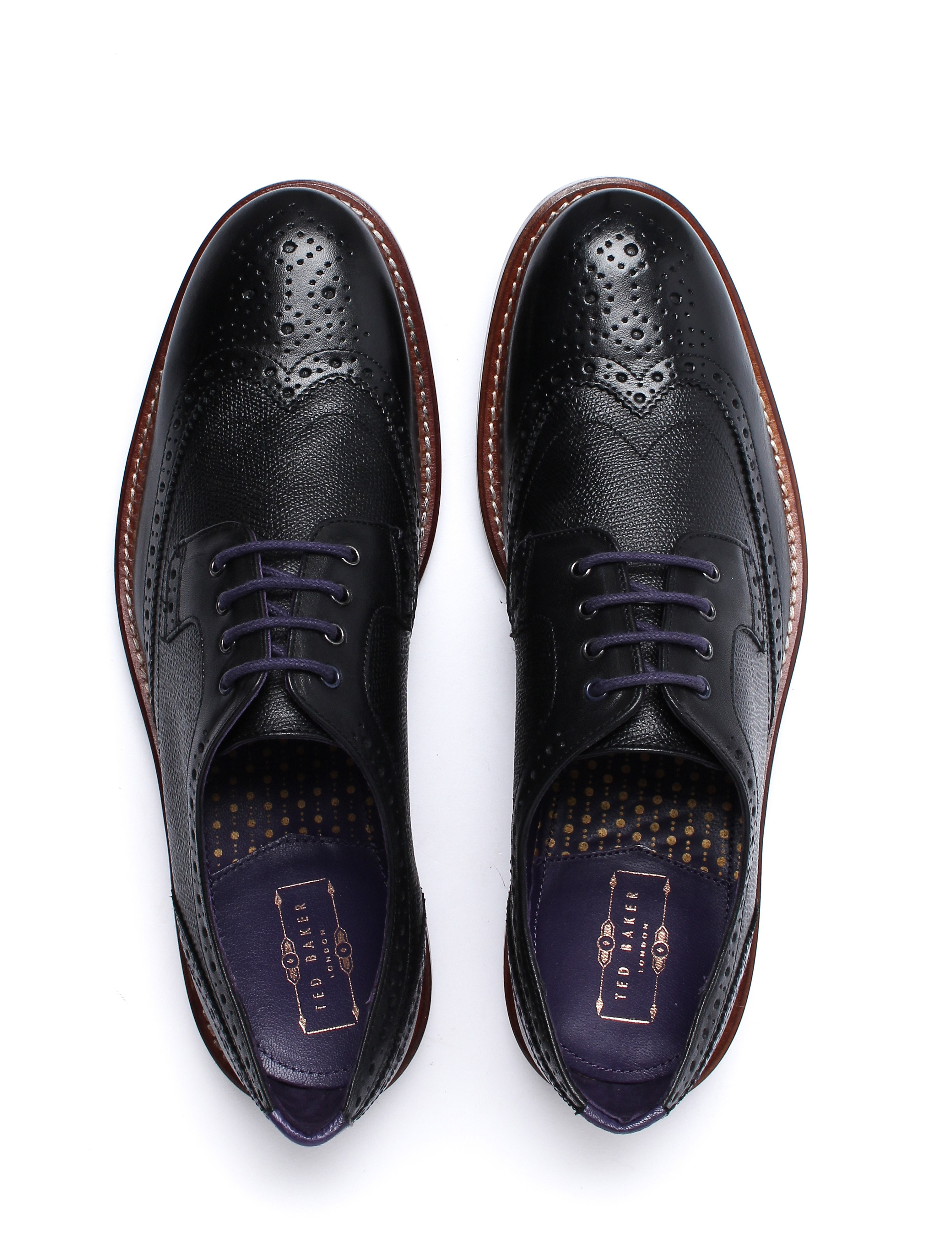 Ted Baker Men's Cassiuss 4 Derby Brogues - Black Leather