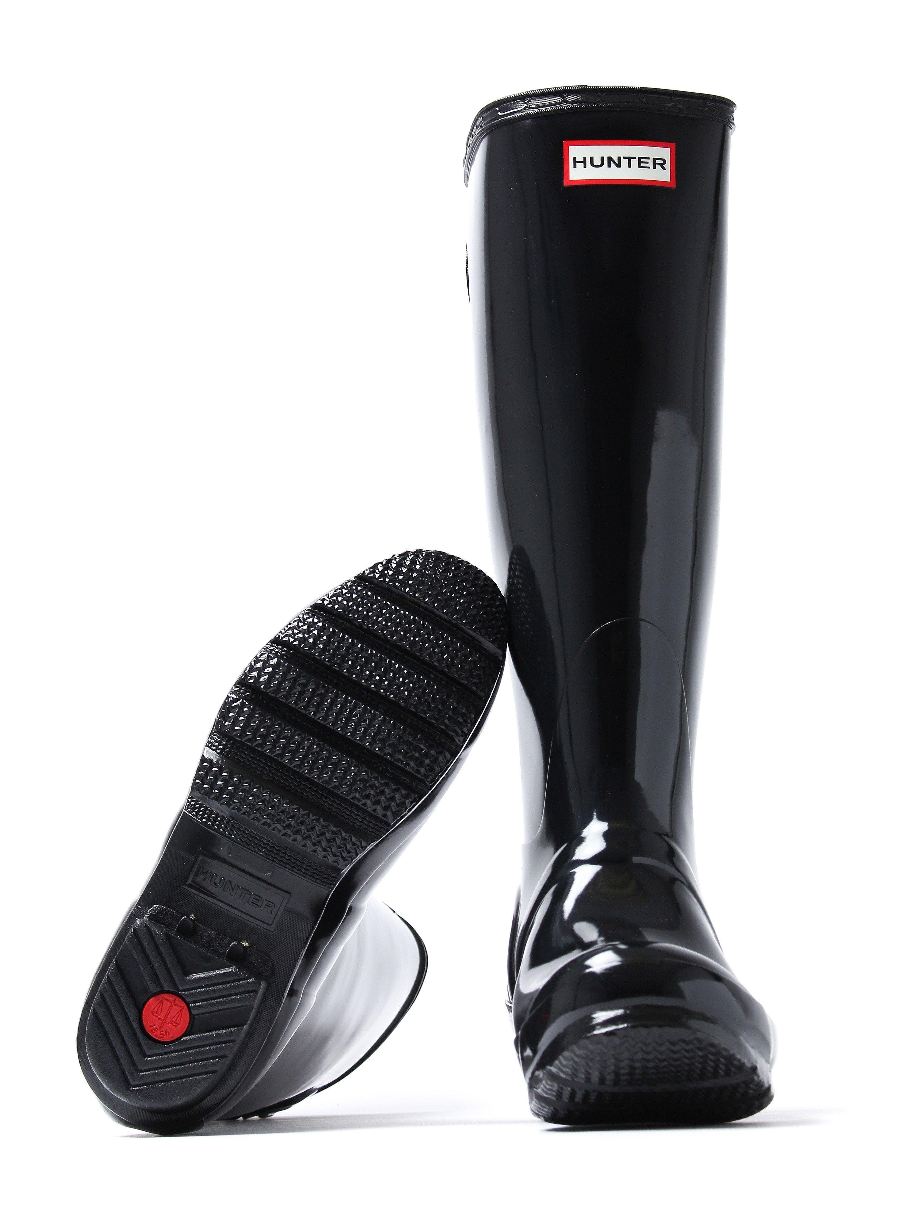 Hunter Wellies Women's Original Back Adjustable Wellington Boots - Black Gloss