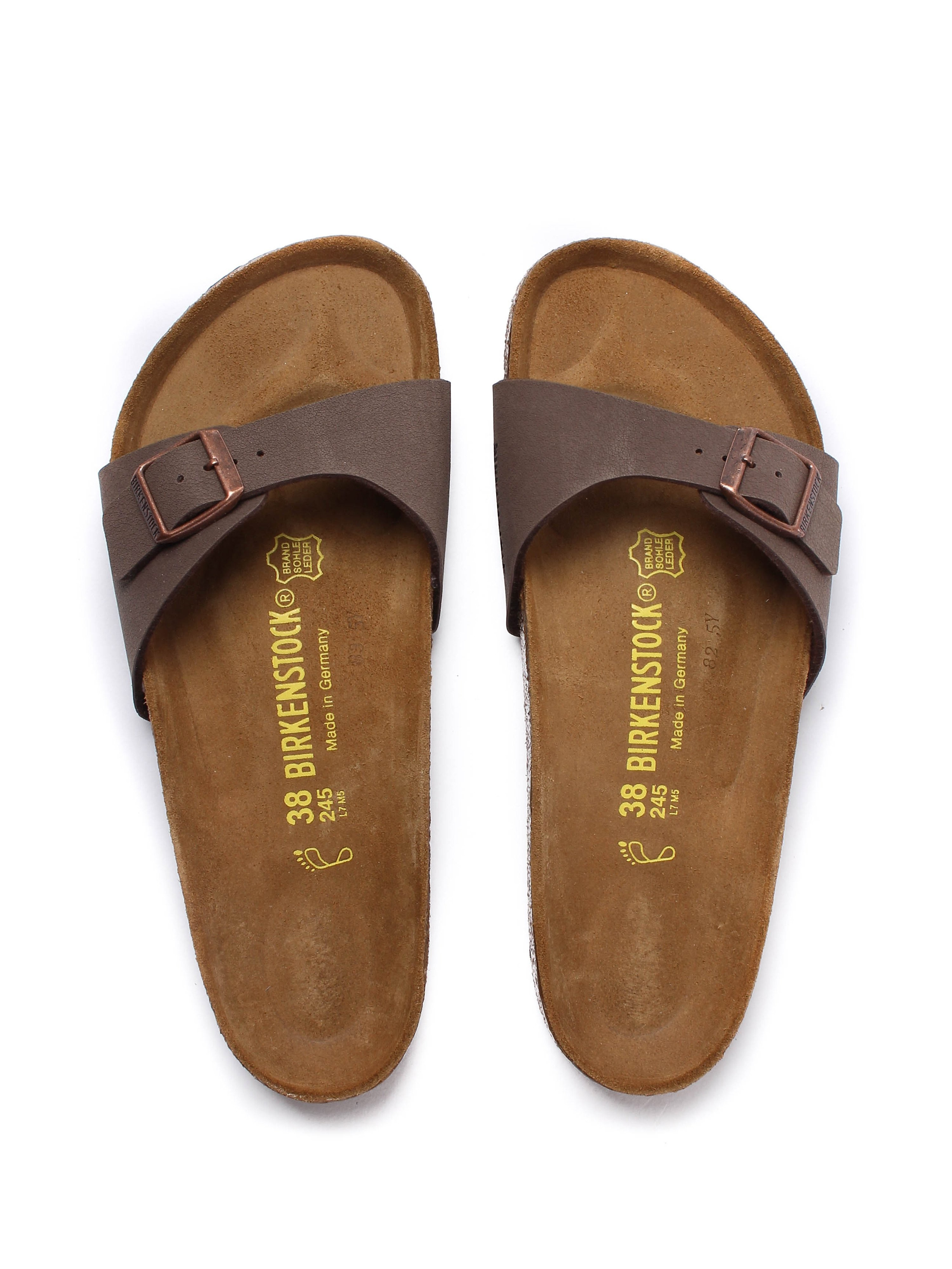 Birkenstock Women's Madrid Buckled Slide Sandal - Mocca Nubuck Leather