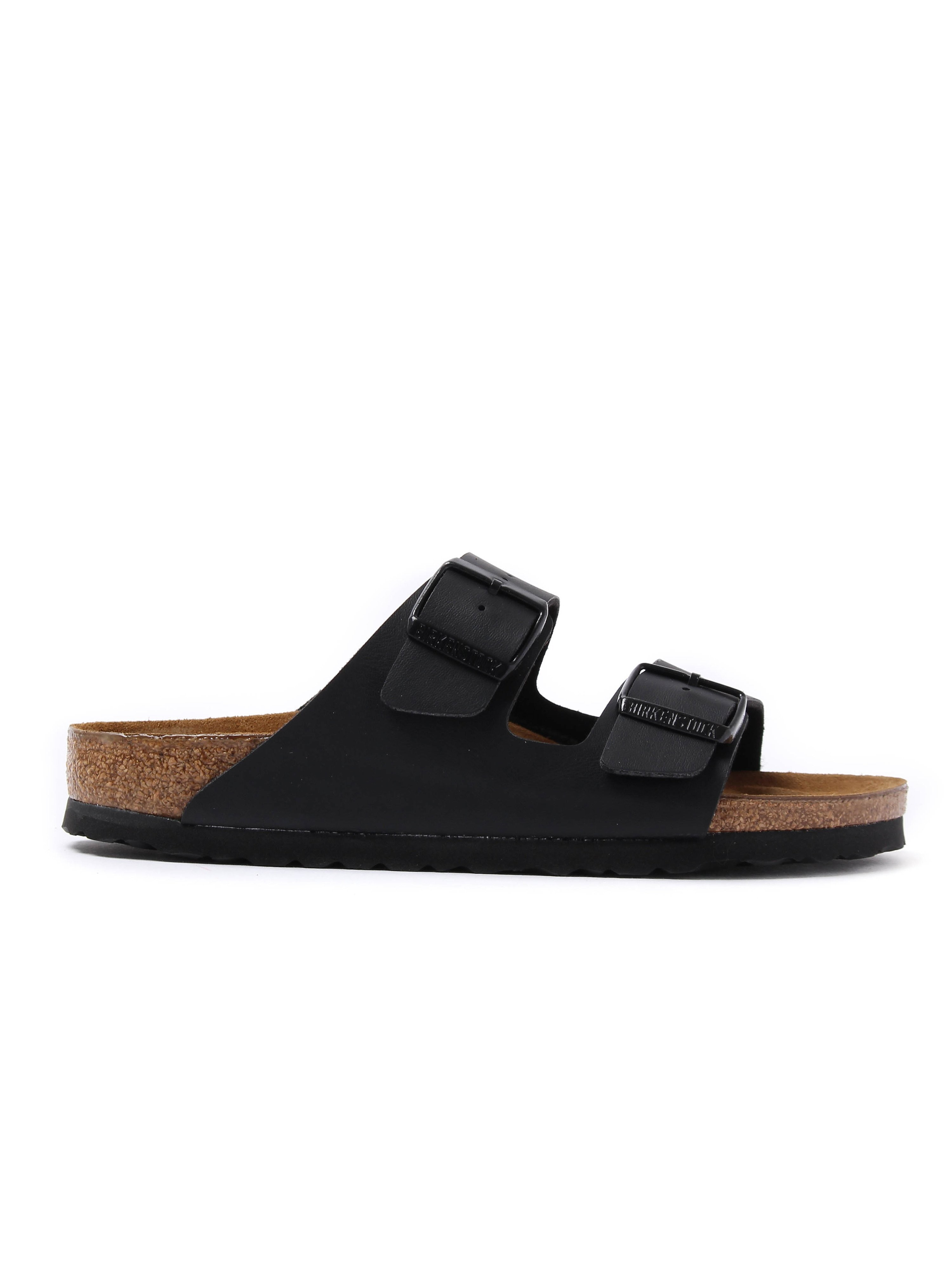Birkenstock Womens Arizona Double Strap Leather Narrow Fit Sandals - Black