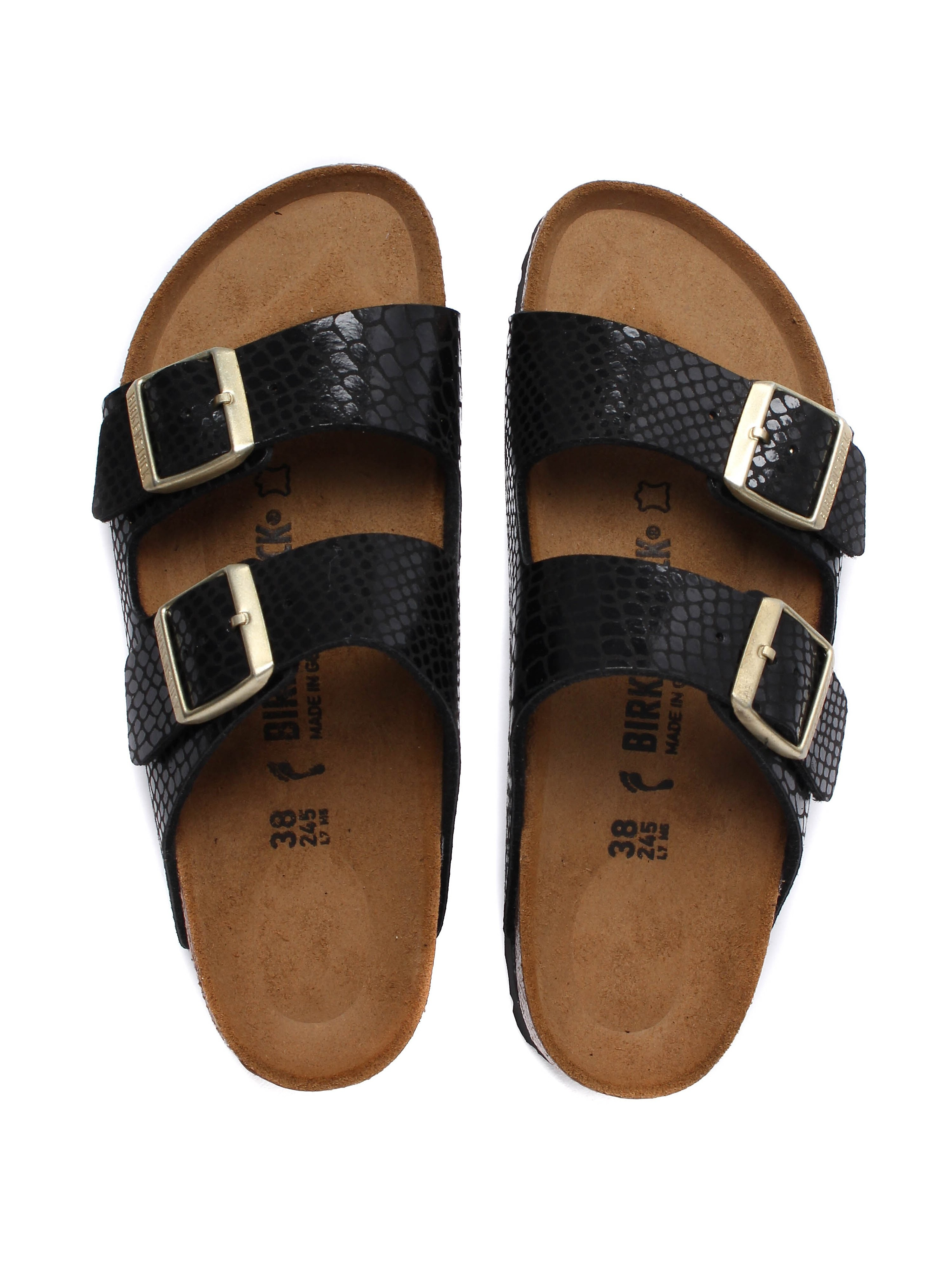 Birkenstock Women's Arizona Narrow Fit Sandals - Black Snakeskin