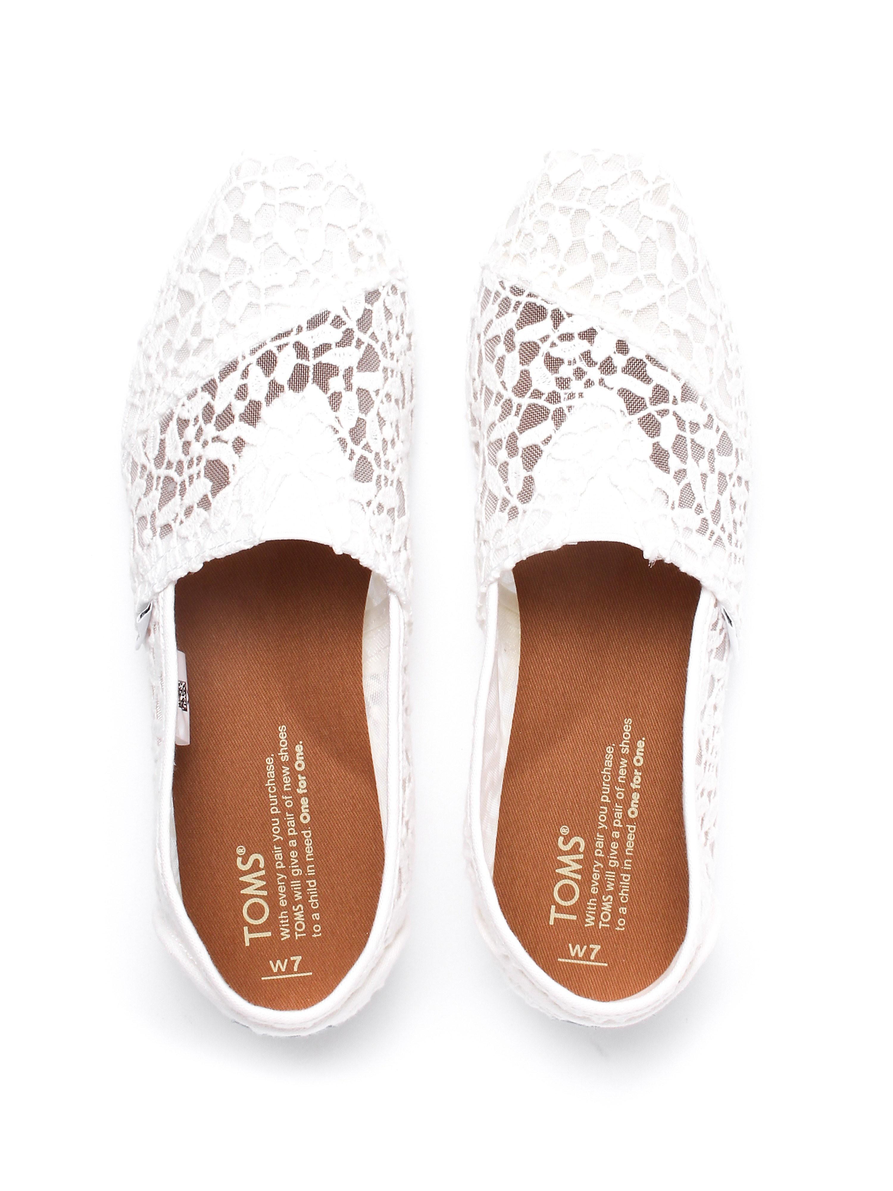 Toms Women's Classic Lace Leaves Espadrilles - White