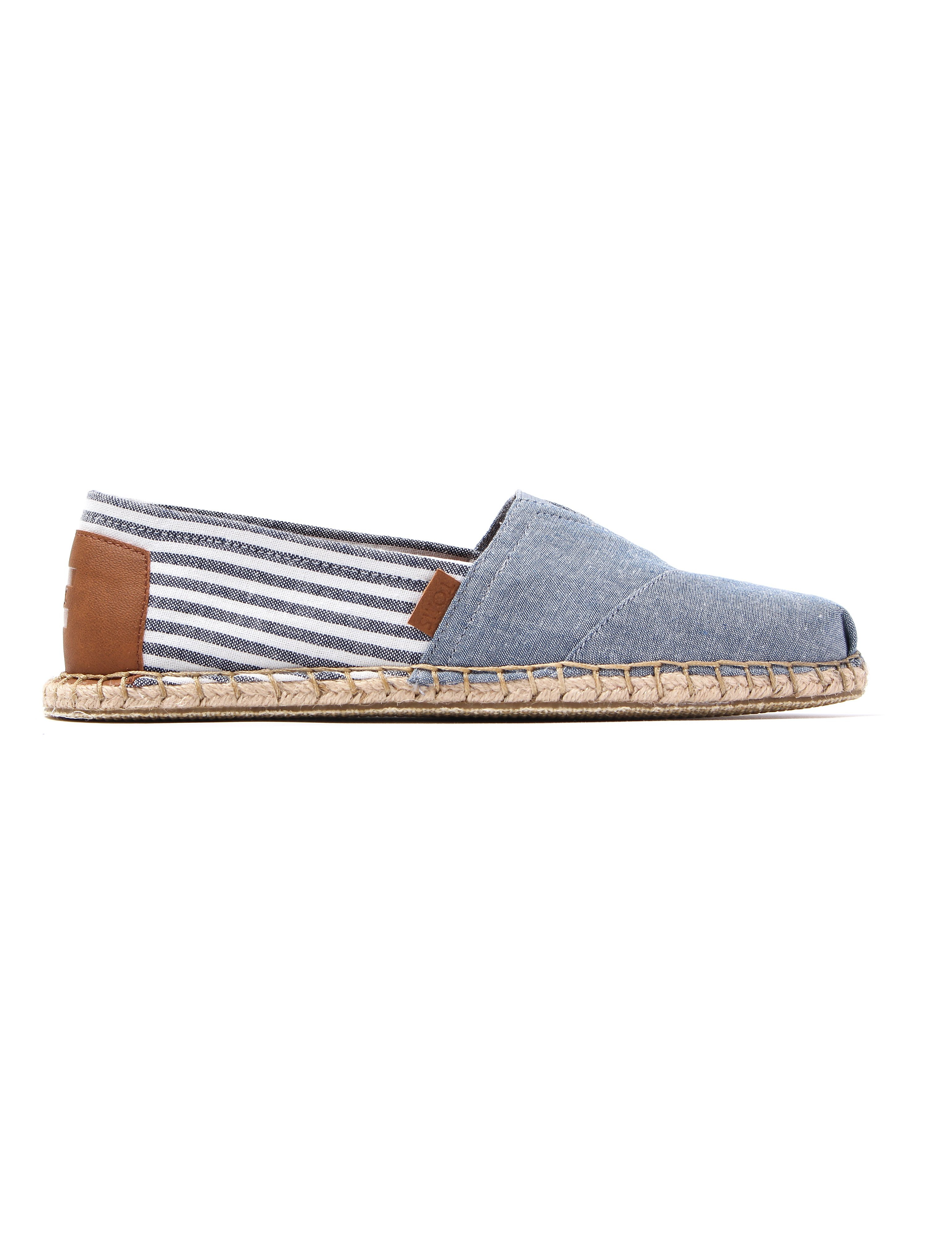 Toms Men's Classic Chambray Blanket Stitch Espadrilles - Light Blue