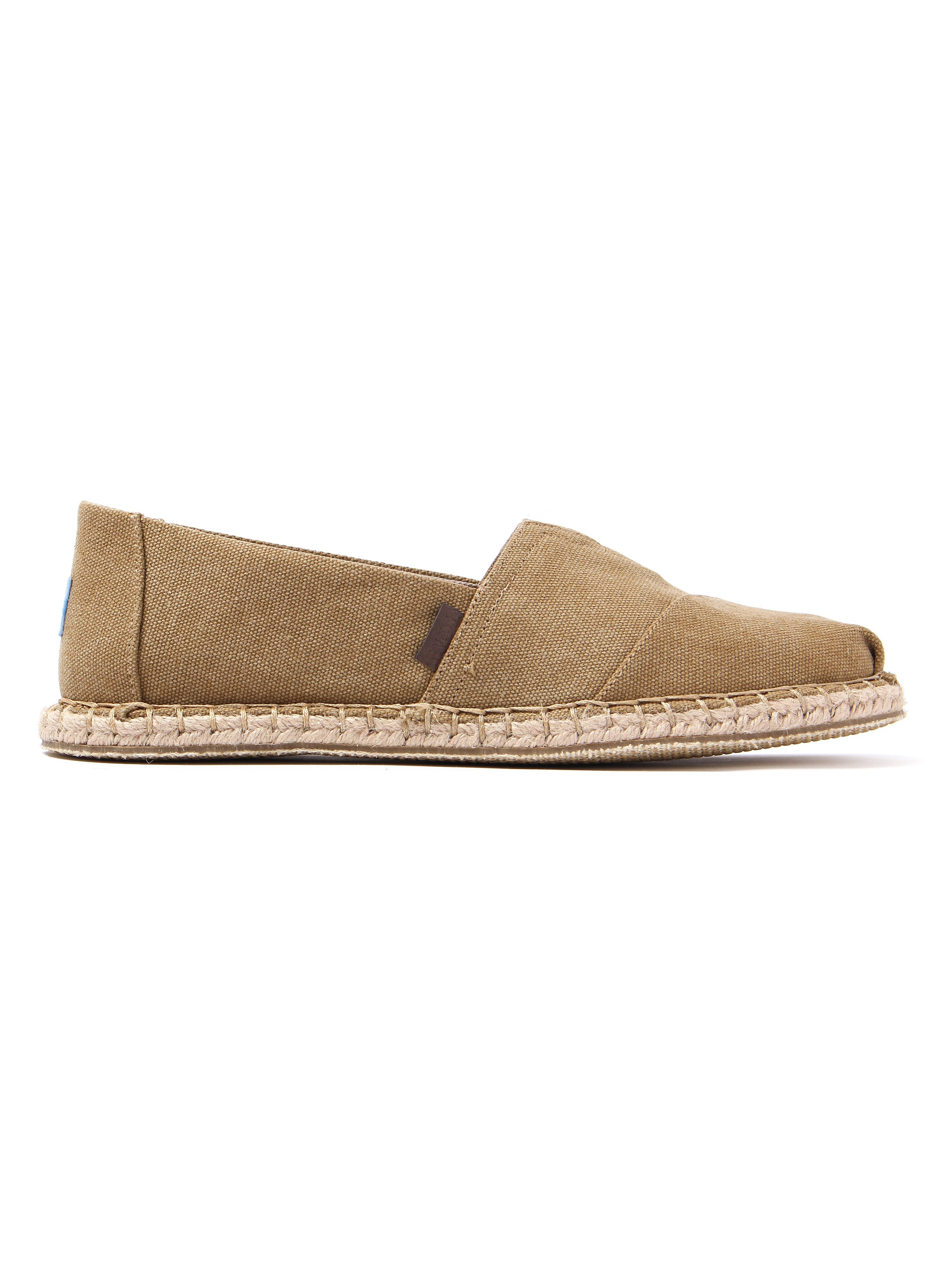 Toms Men's Classic Washed Canvas Blanket Stitch Slip-On Espadrilles - Toffee
