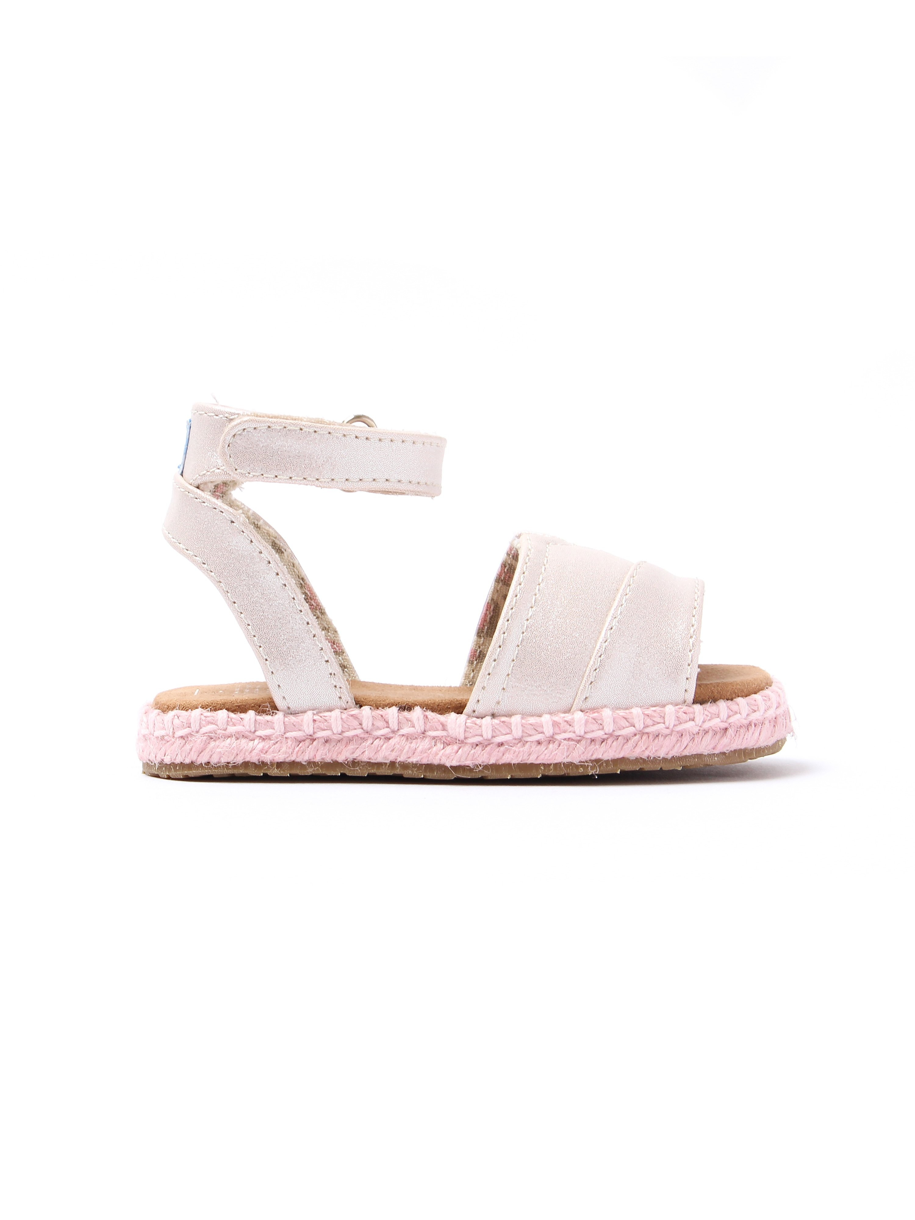 Toms Infant Malea Shimmer Canvas Sandals - Pale Gold & Pink