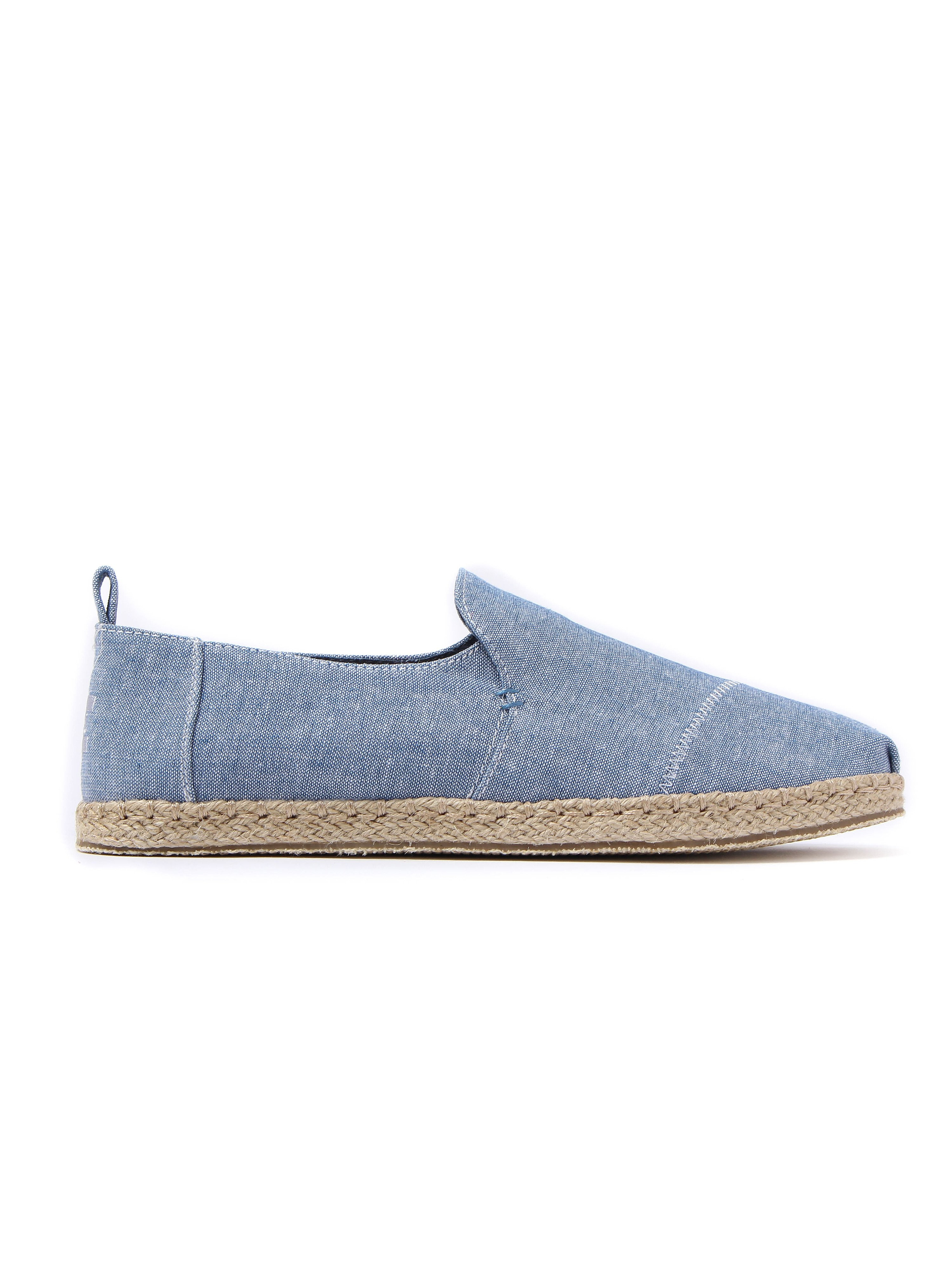 Toms Men's Deconstructed Alpargata Slub Chambray Rope Sole Espadrilles - Cornflower Blue