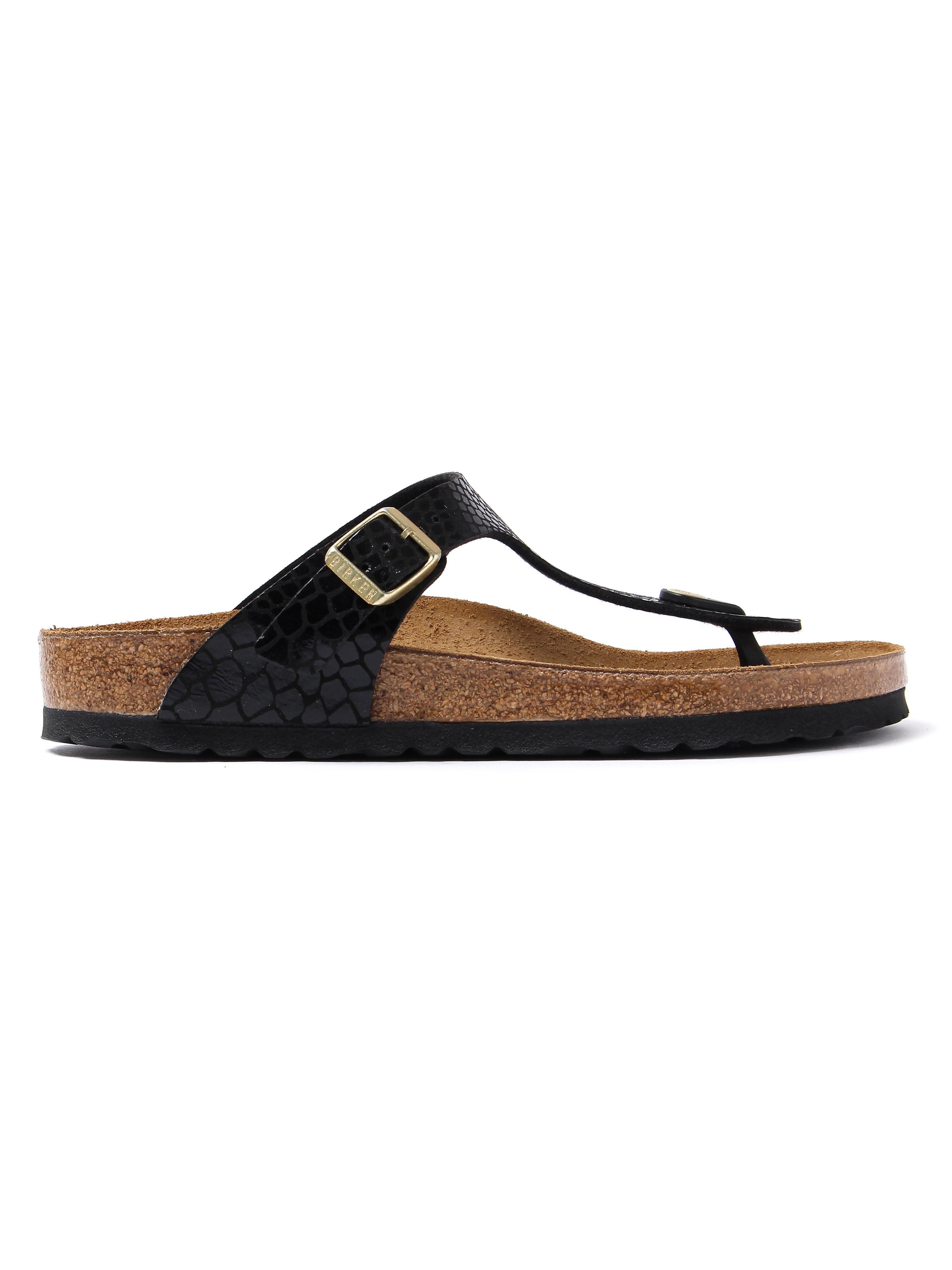 Birkenstock Women's Gizeh Regular Fit Sandals - Black Snakeskin