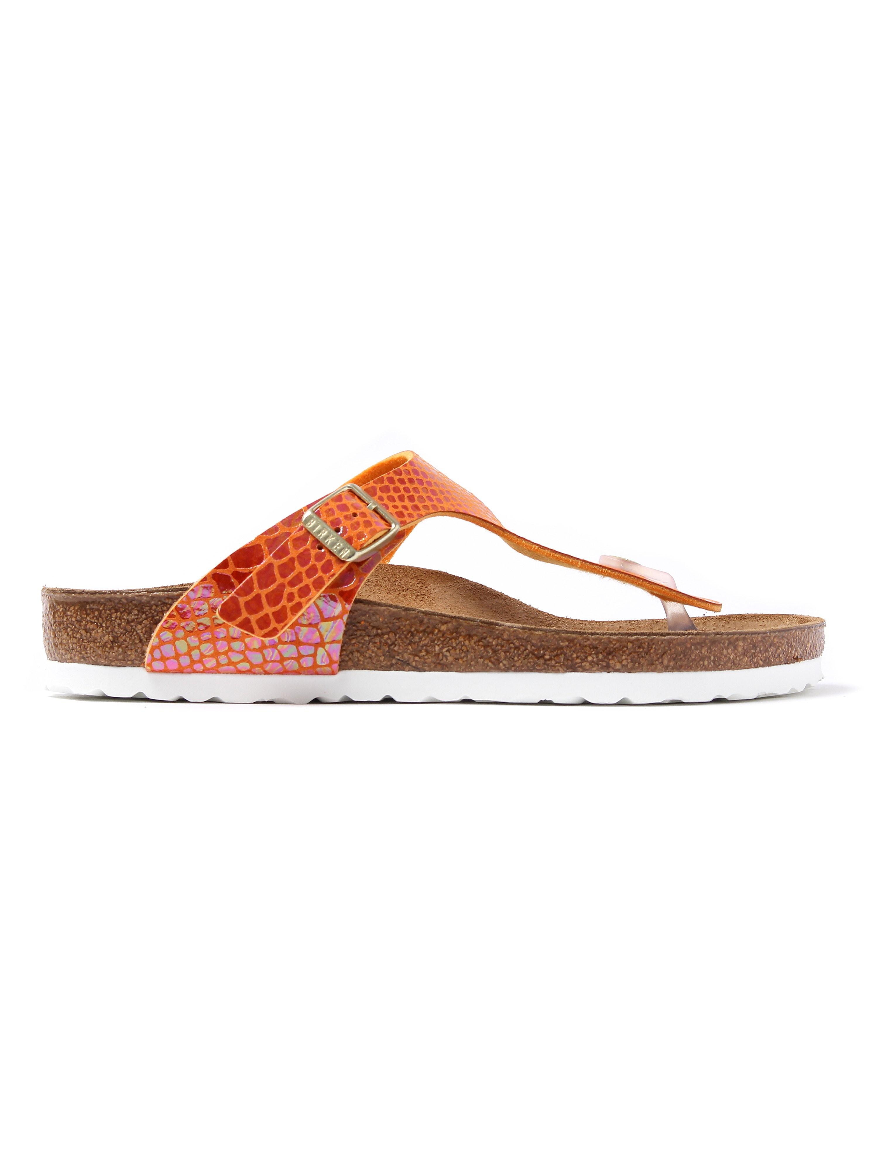 Birkenstock Women's Gizeh Regular Fit Sandals -  Orange Snake Skin