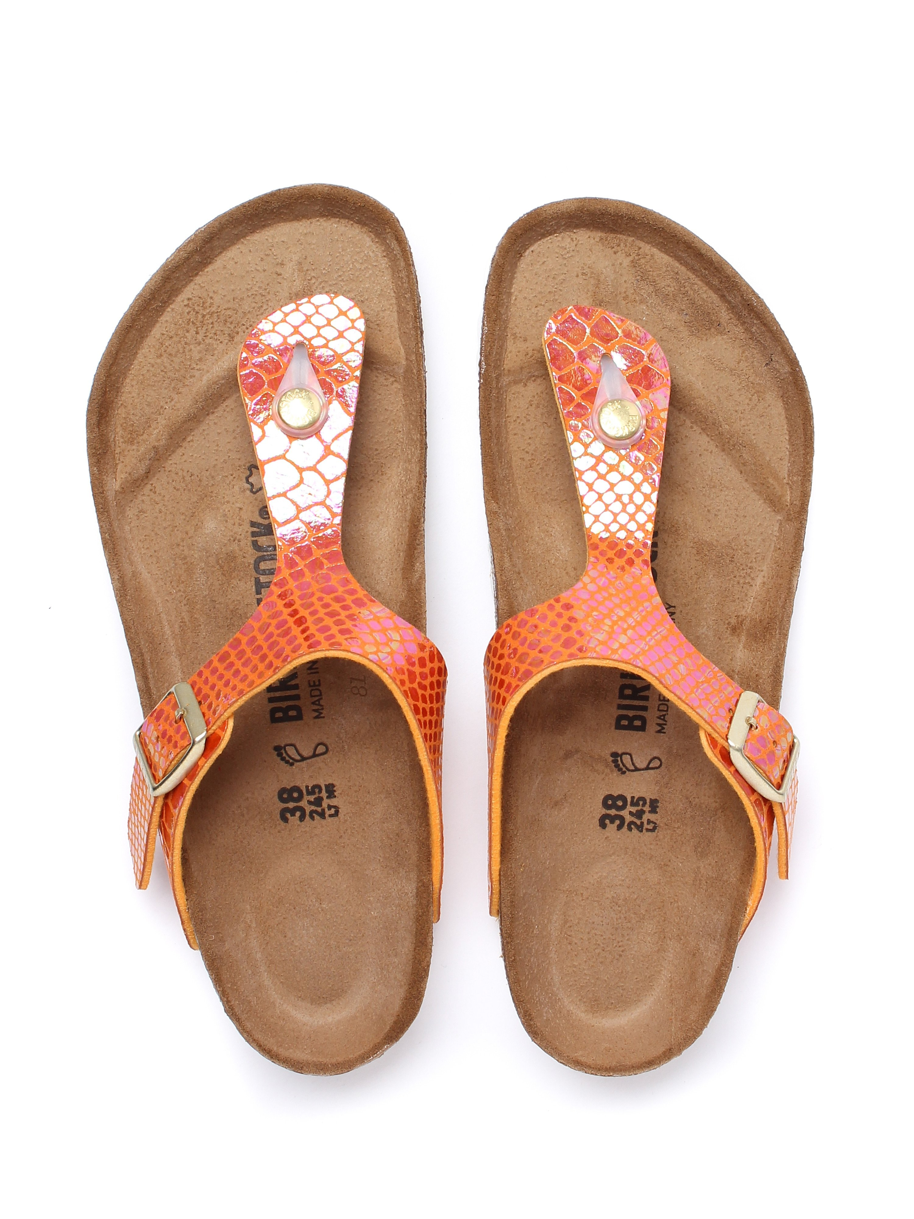 Birkenstock Women's Gizeh Regular Fit Sandals -  Orange Snake Skin