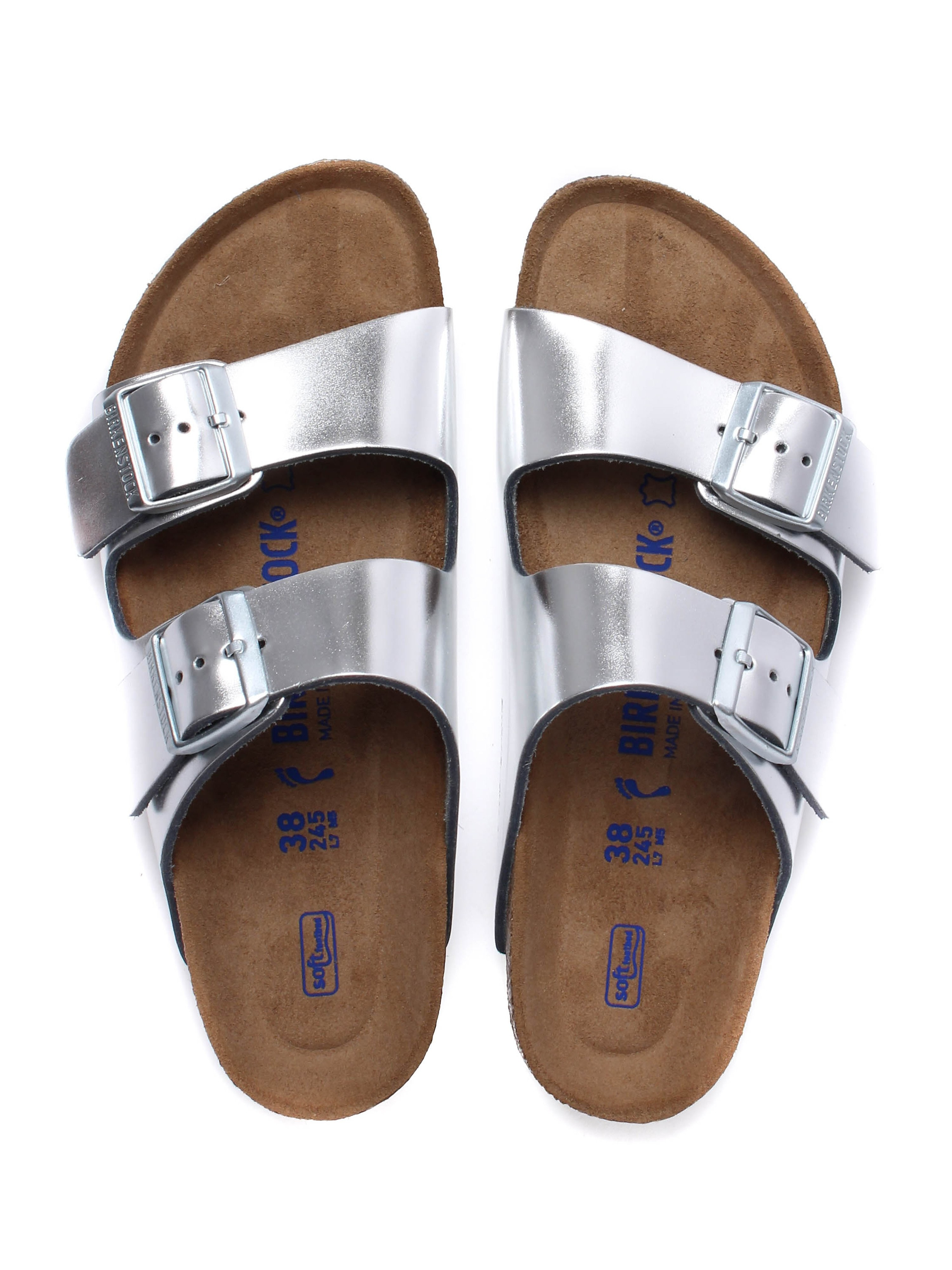 Birkenstock Women's Arizona Narrow Fit Leather Sandals - Silver